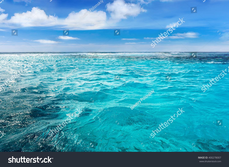 Caribbean Sea Surface Summer Wave Background Stock Photo