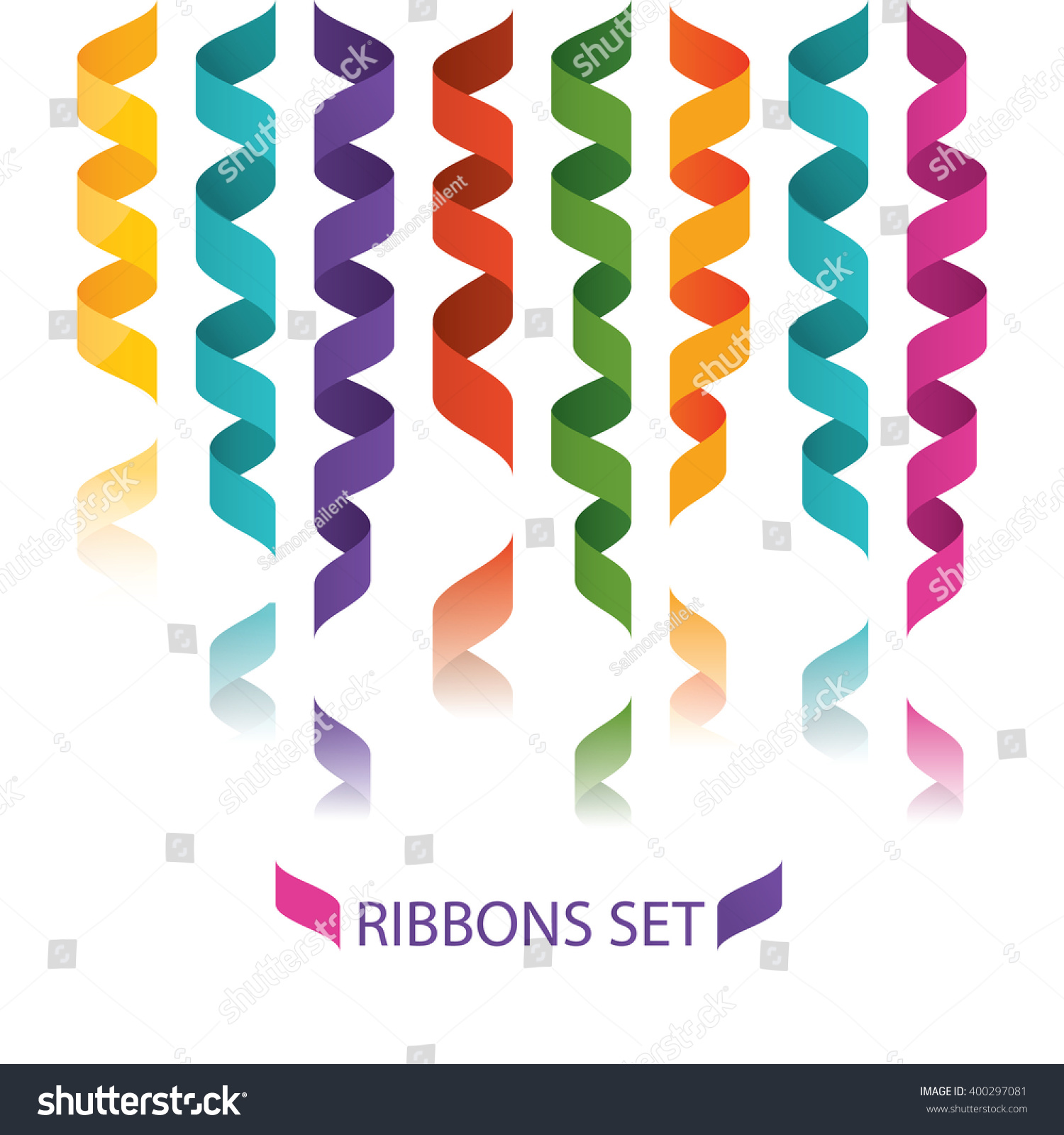 Modern Vector Illustration Colorful Flat Ribbons Stock Vector