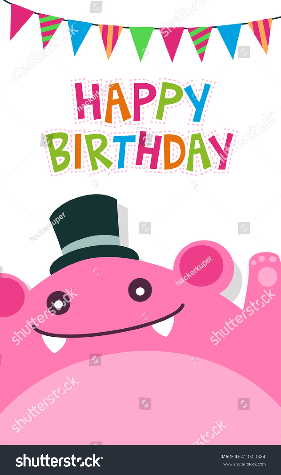 Vector Happy Birthday Card Template Cute Vector 400309384 – Monster Template
