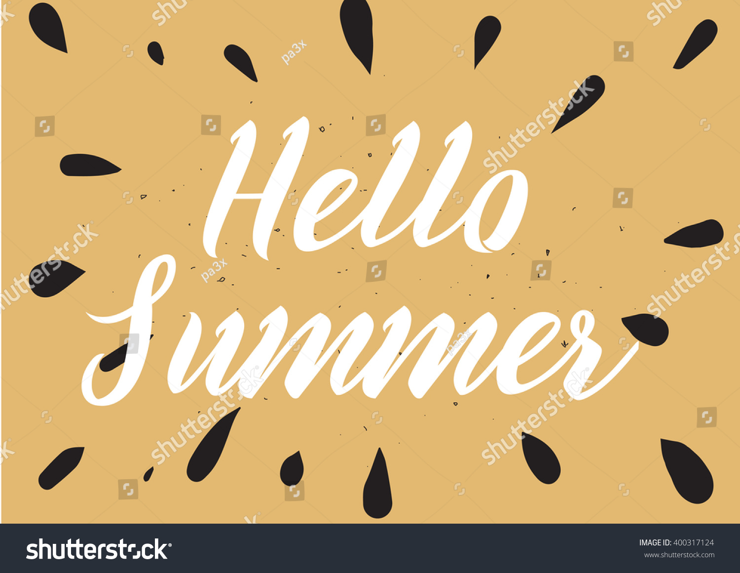 Hello Summer Inscription Greeting Card Calligraphy Stock