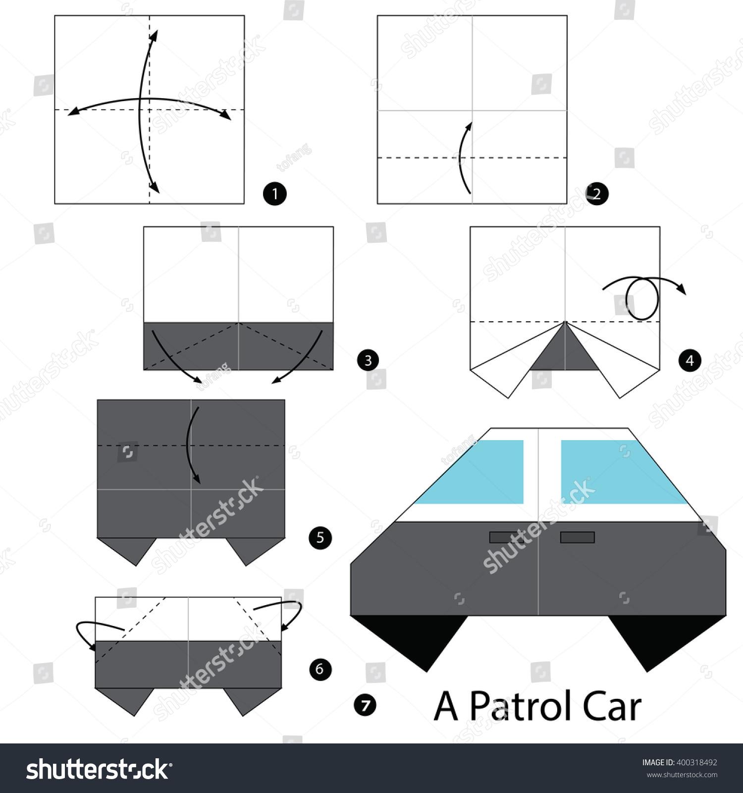 Step by step instructions how make stock vector 400318492 step by step instructions how to make origami a patrol car jeuxipadfo Choice Image