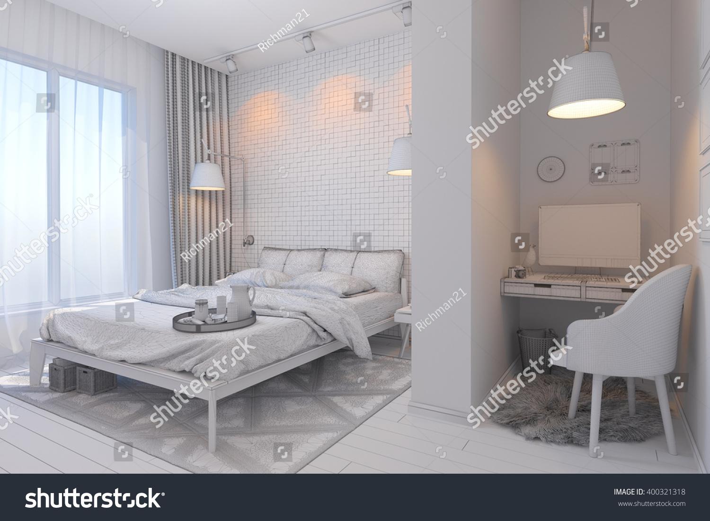 3d Illustration Bedroom Interior Design Contemporary Stock