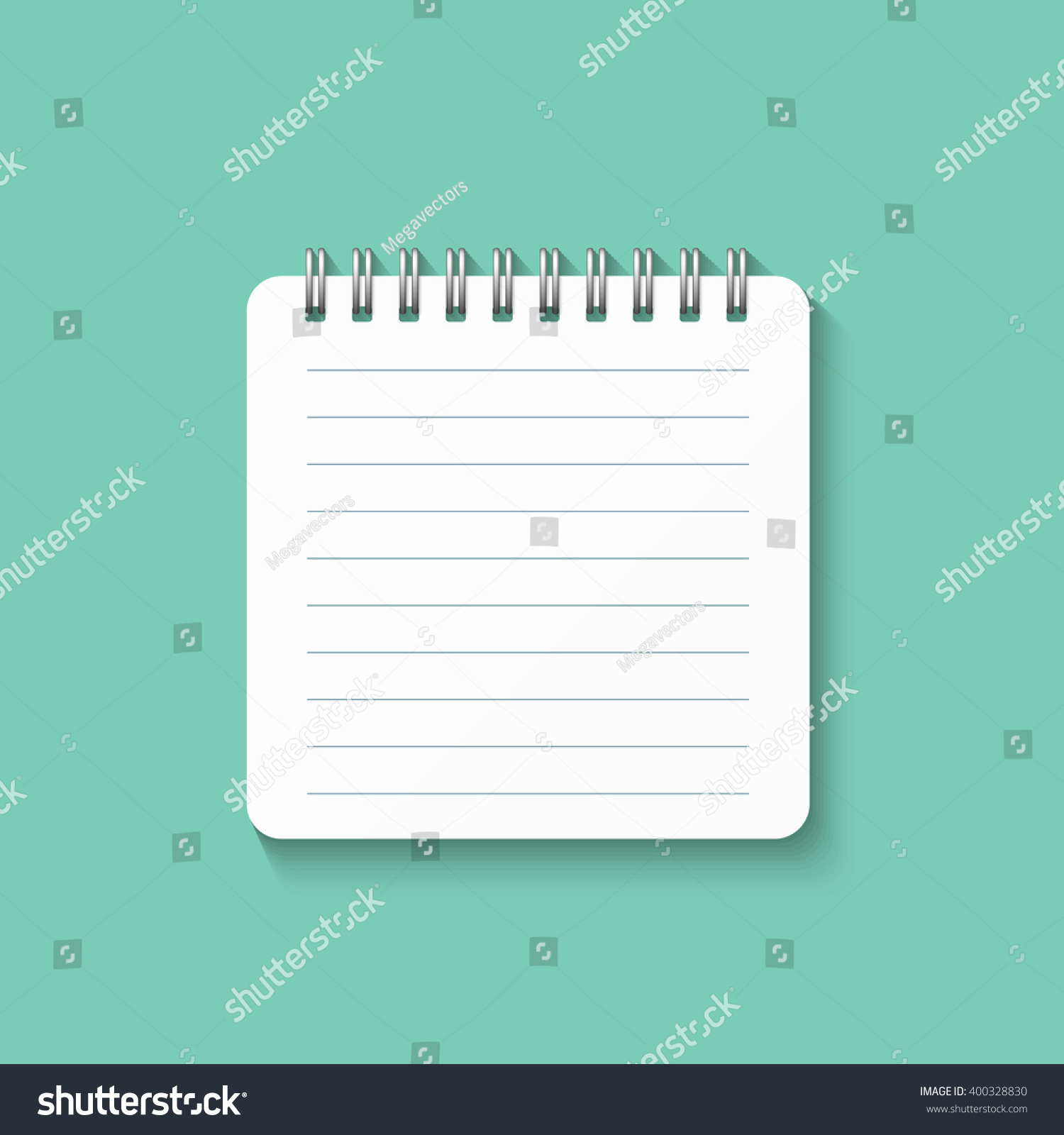 template spiral notebook isolated on green stock vector