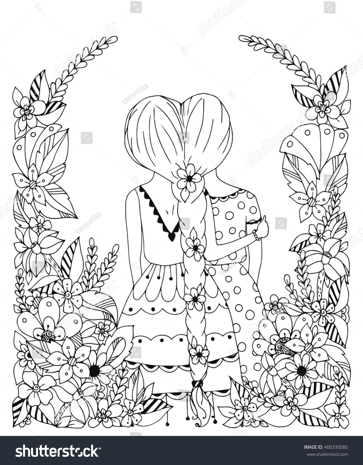 vector illustration zentangl friend flower stock vector