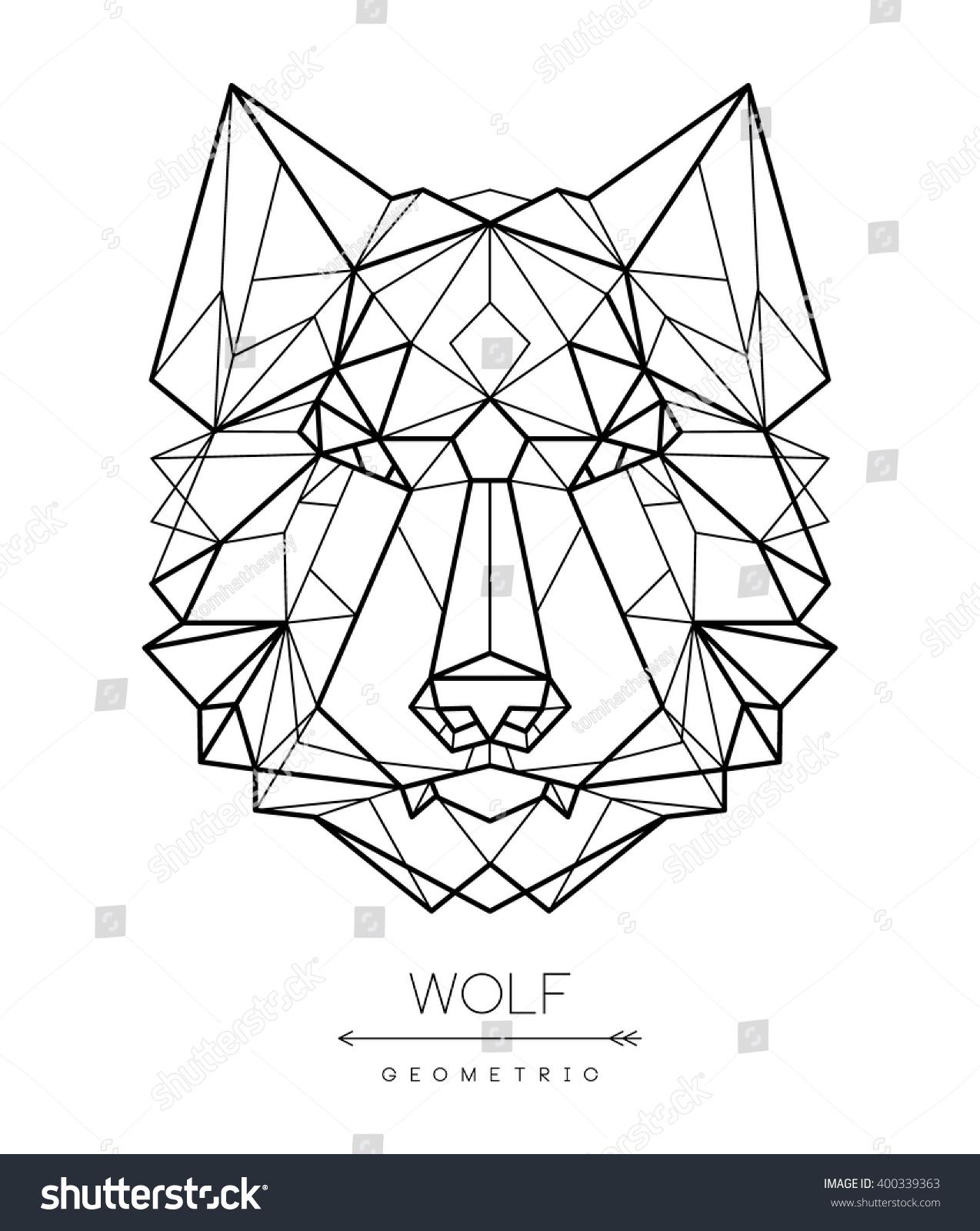 Geometric Wolf Head Tattoo Tshirt Design Lager-vektor ...