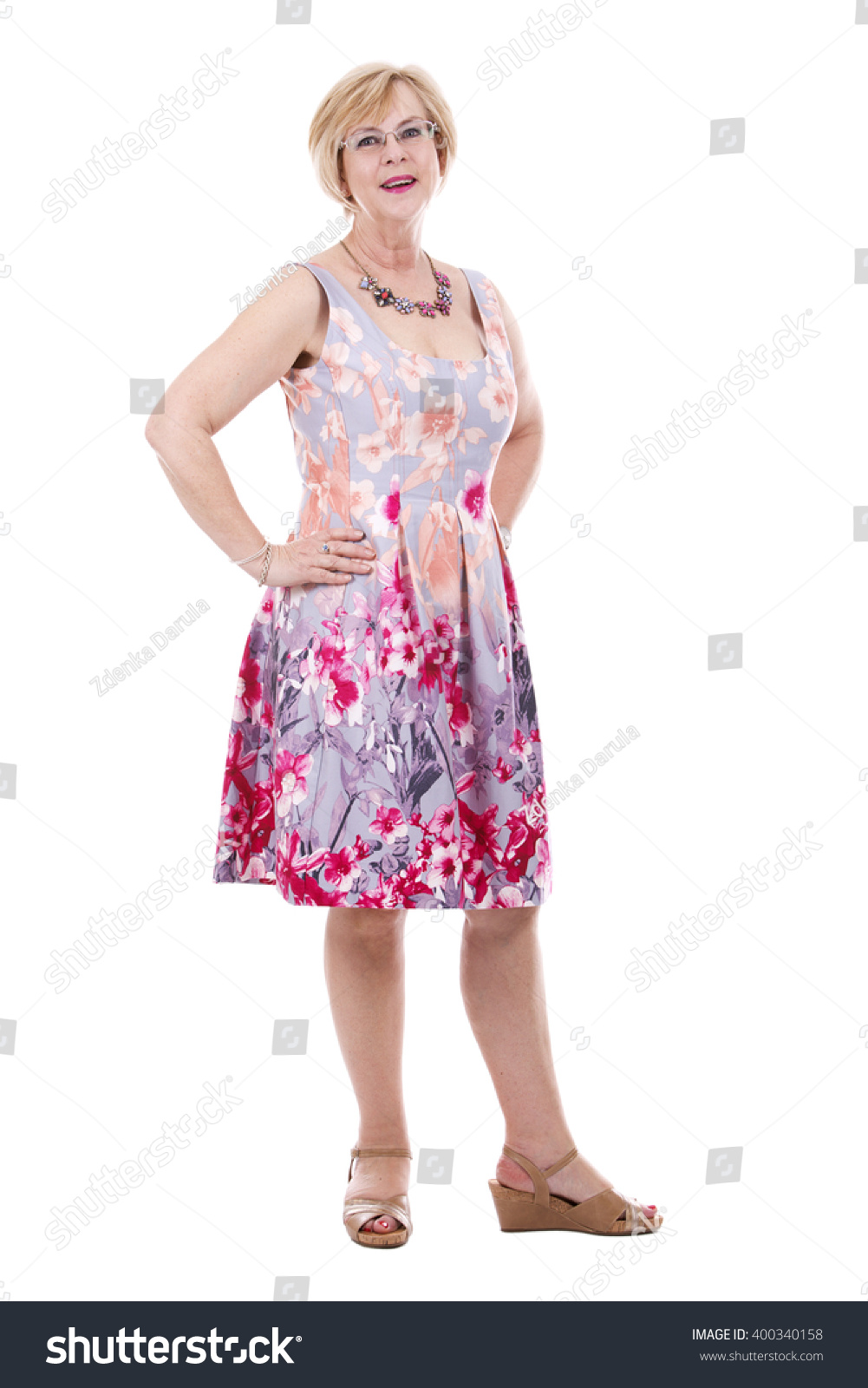 Pretty Woman Wearing Flower Dress On Stock Photo Edit Now