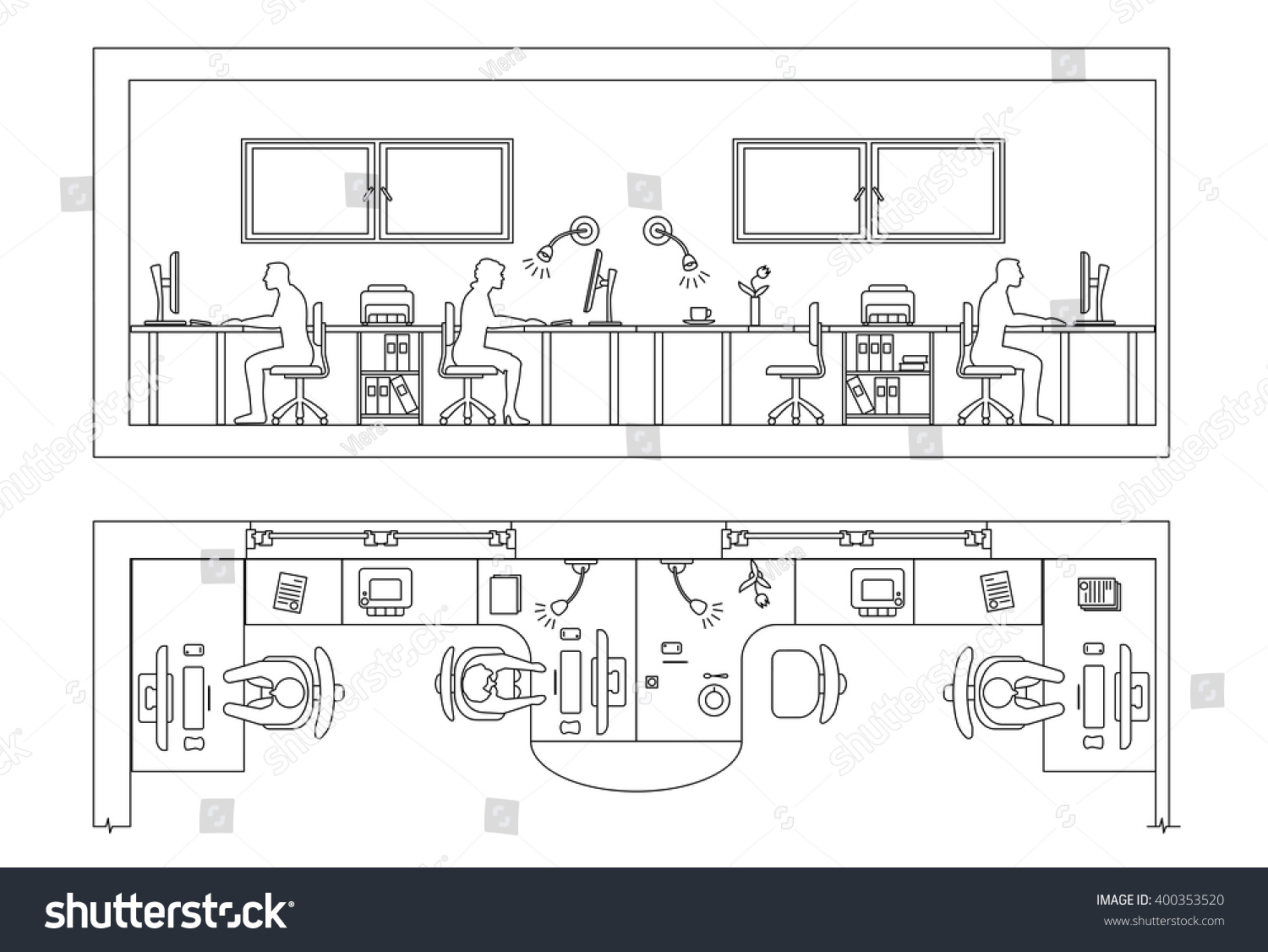 Architectural set of furniture  Design elements for plan  section  frontal  view  Thin. Architectural Set Furniture Design Elements Plan Stock Vector