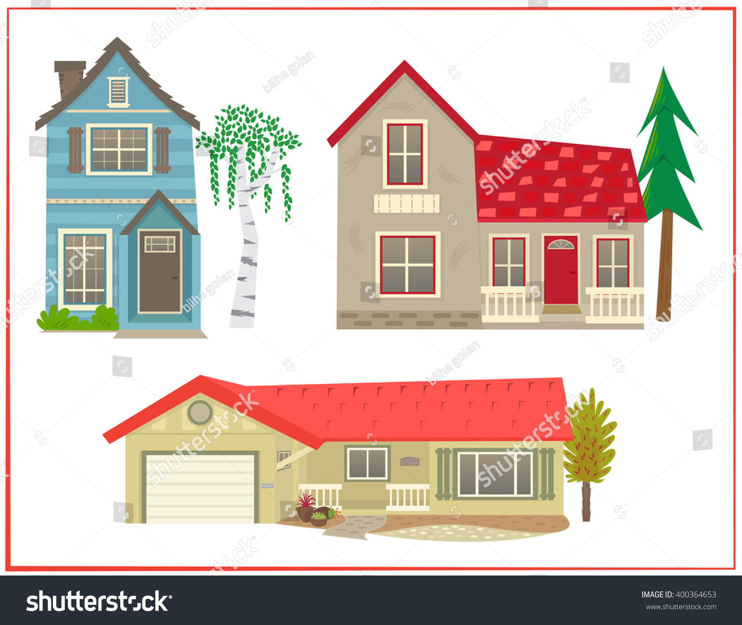 Cute houses cartoon set three different stock vektor for Different styles of houses