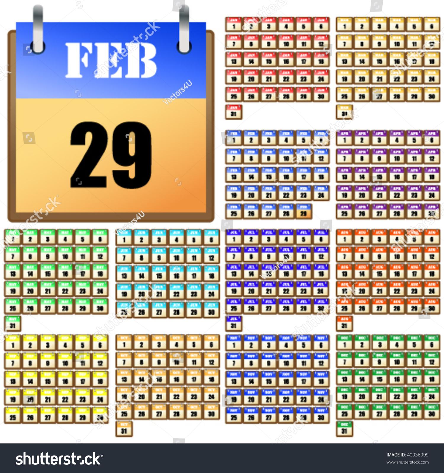 Every Year Calendar : Universal calendar for every year stock vector