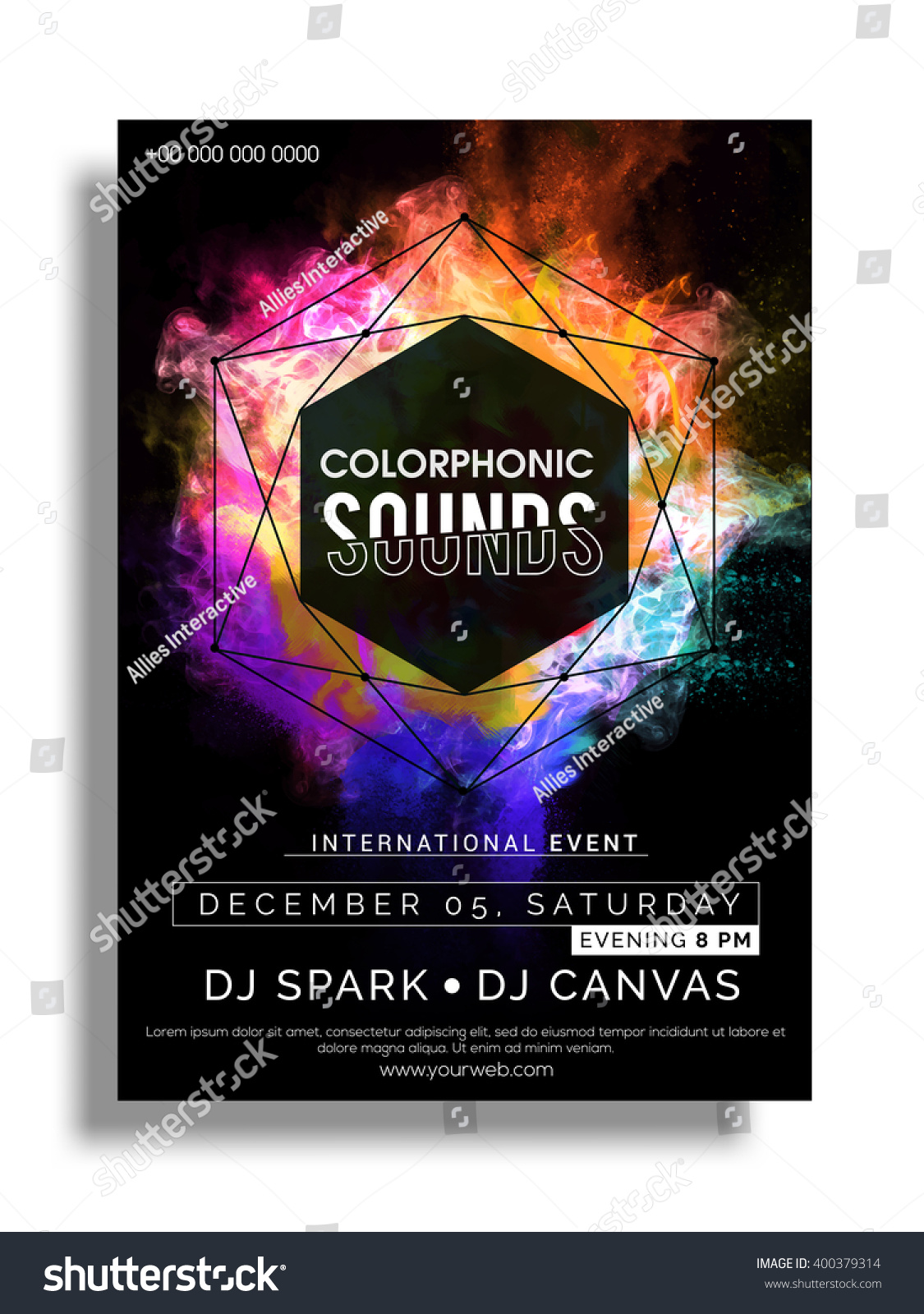 colorful party flyer musical party template のベクター画像素材