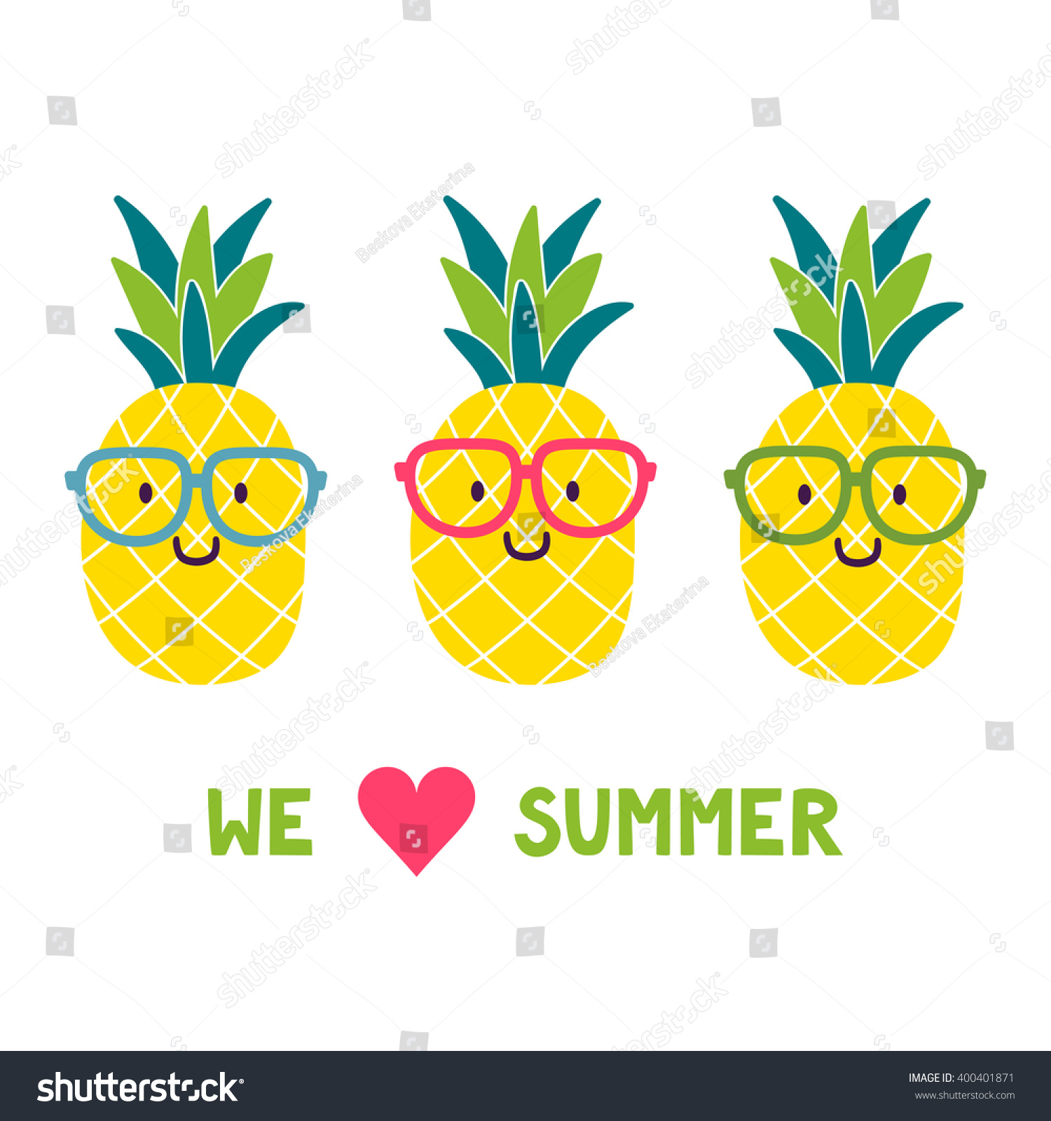Vector Background Funny Pineapples Glasses Text Stock ...