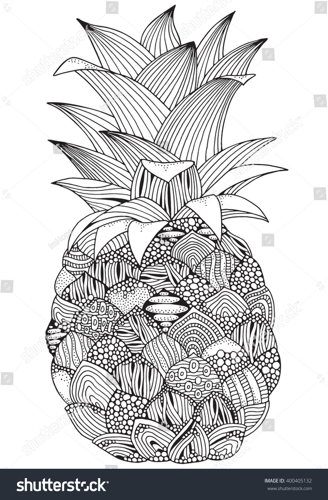 Artistic Pineapple On White Background Handdrawn Stock