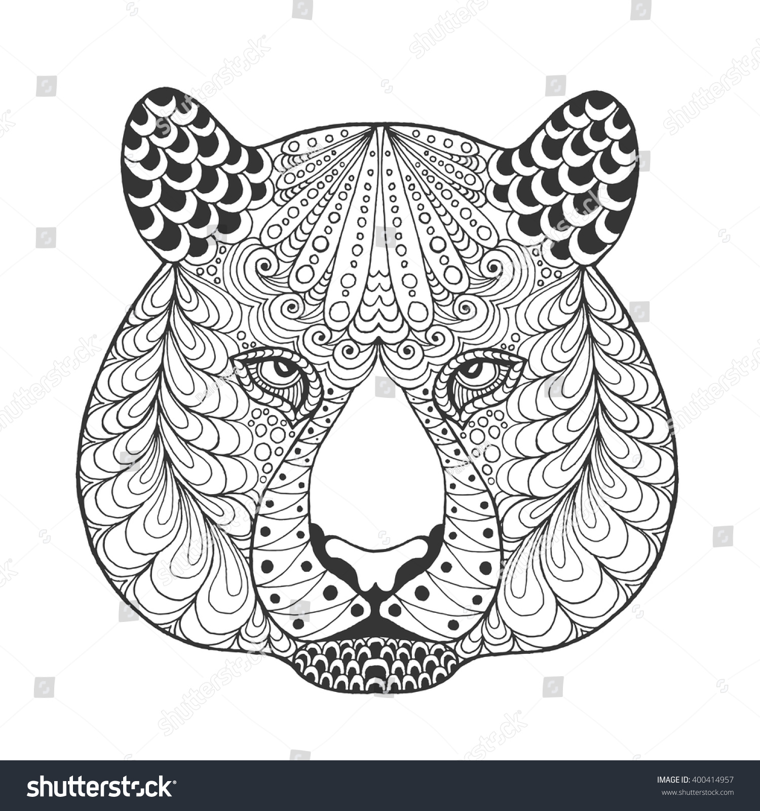 Tiger Head Adult Antistress Coloring Page Black White Hand Drawn Doodle Animal Ethnic