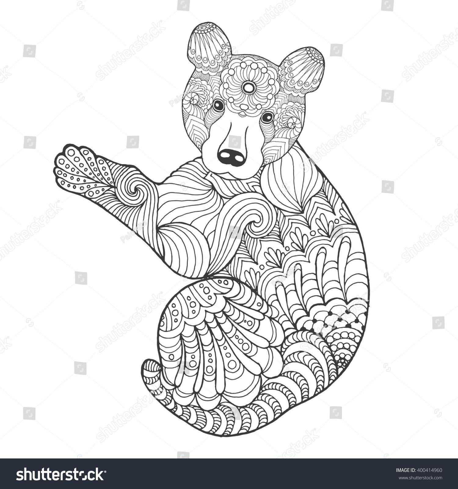 Cute Bear. Black White Hand Drawn Doodle Animal. Ethnic ...