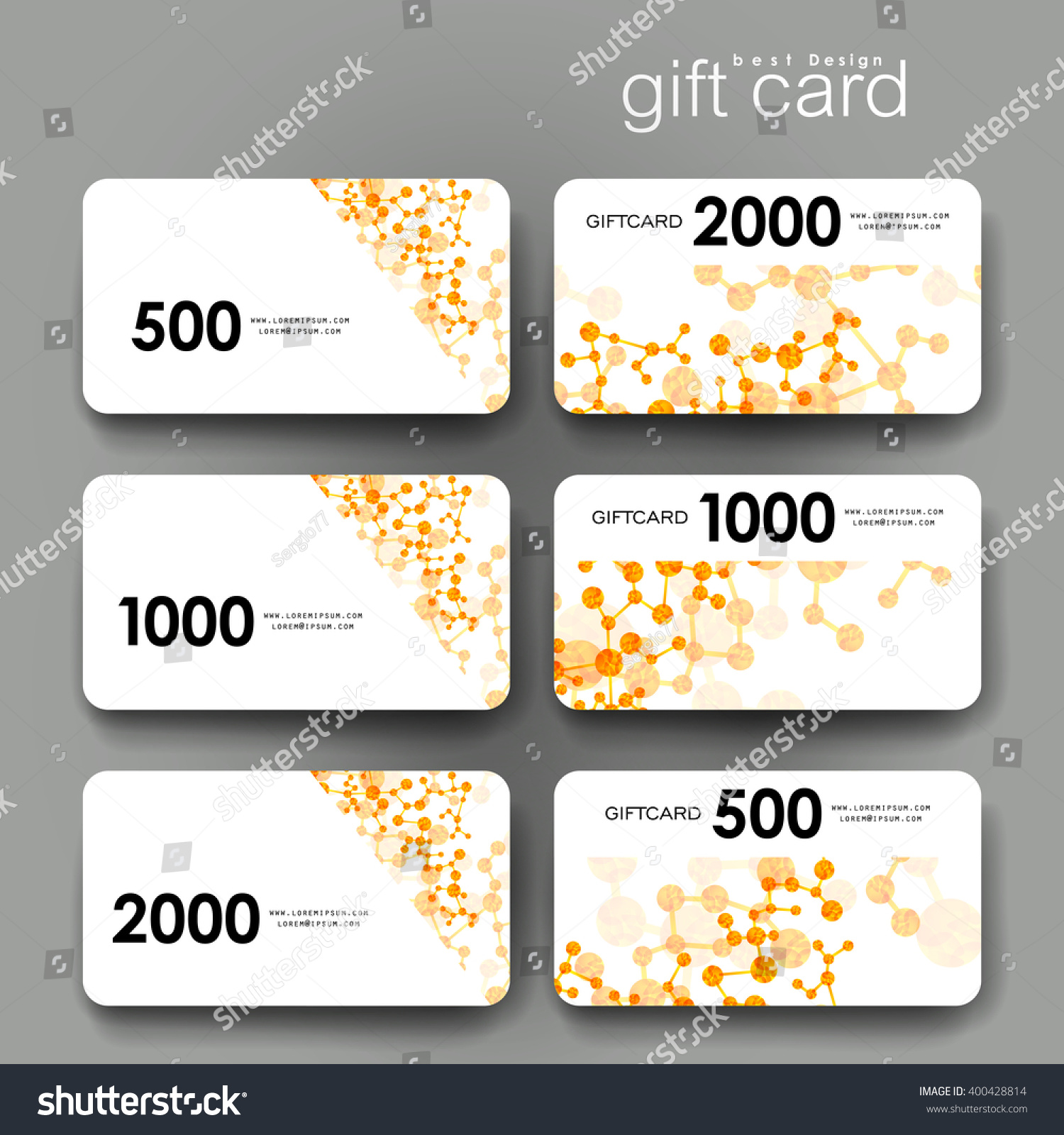 Design of discount card - Gift Coupon Discount Card Template With Dna Molecule Background Creative Layout Design