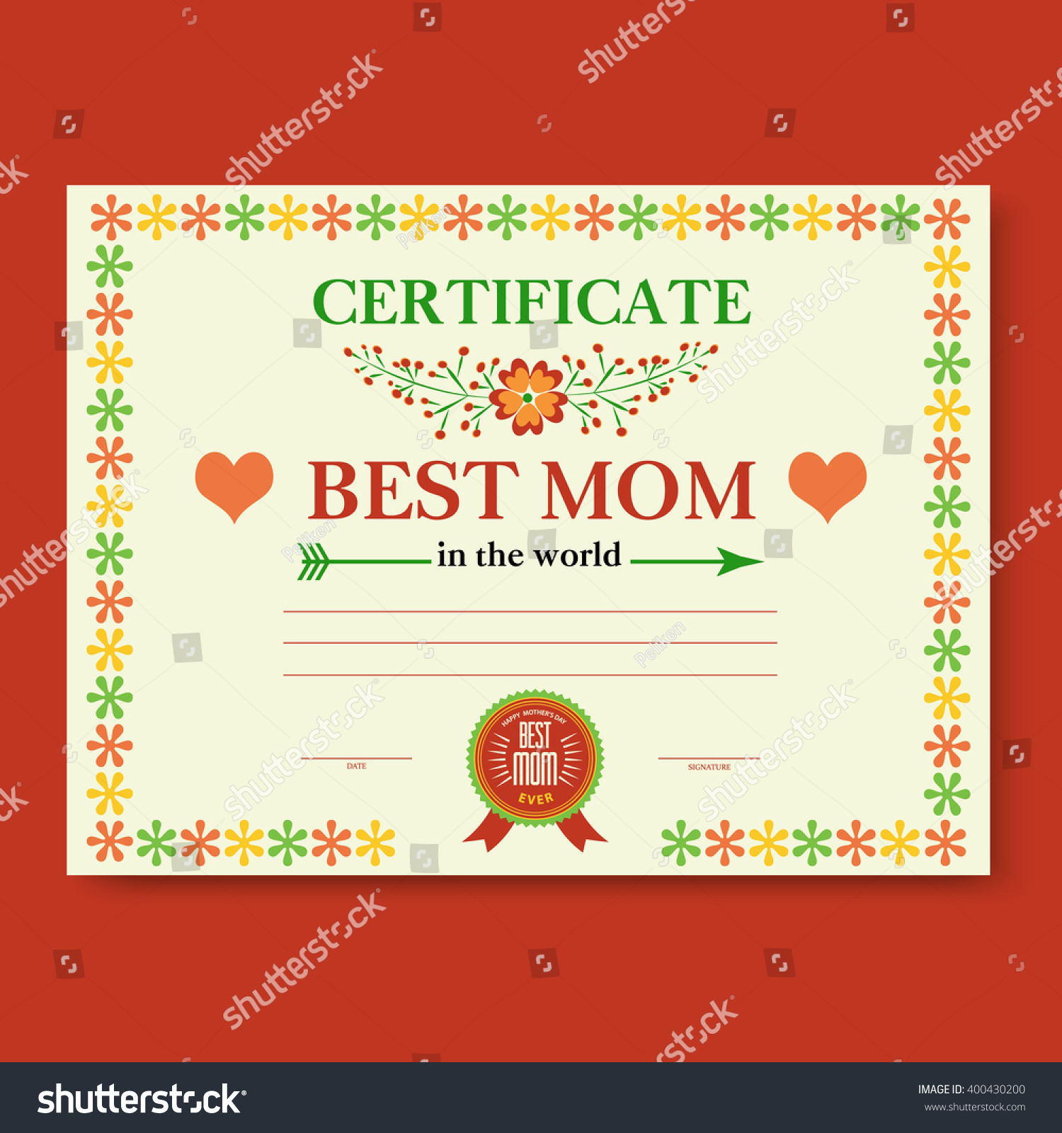 Template Certificate Diploma Congratulations Mothers Day Stock