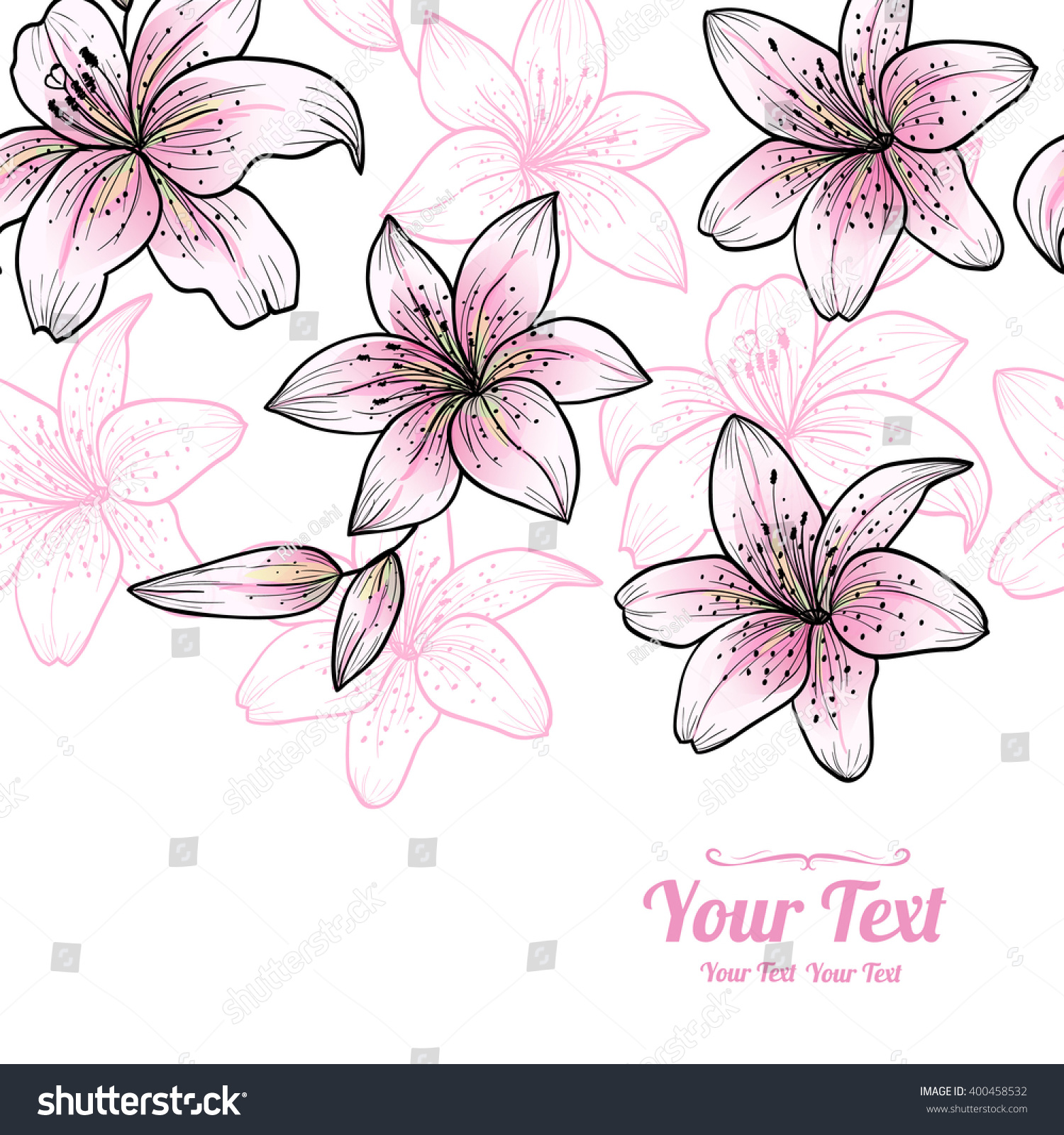 Vector pink lily flowers horizontal frame stock vector 400458532 vector pink lily flowers horizontal frame pattern background invitation or greeting card designctor dhlflorist Images