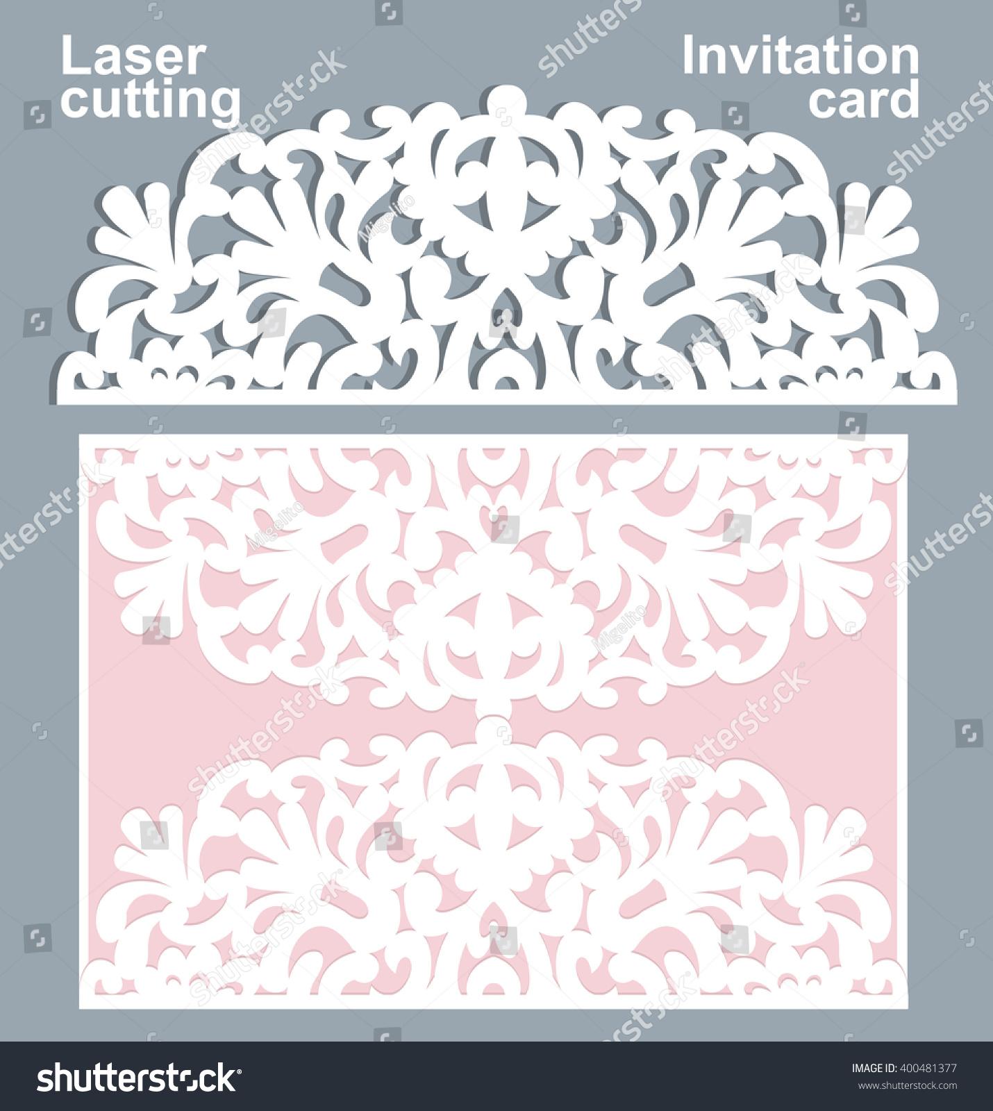 Vector Die Laser Cut Wedding Card Stock Vector