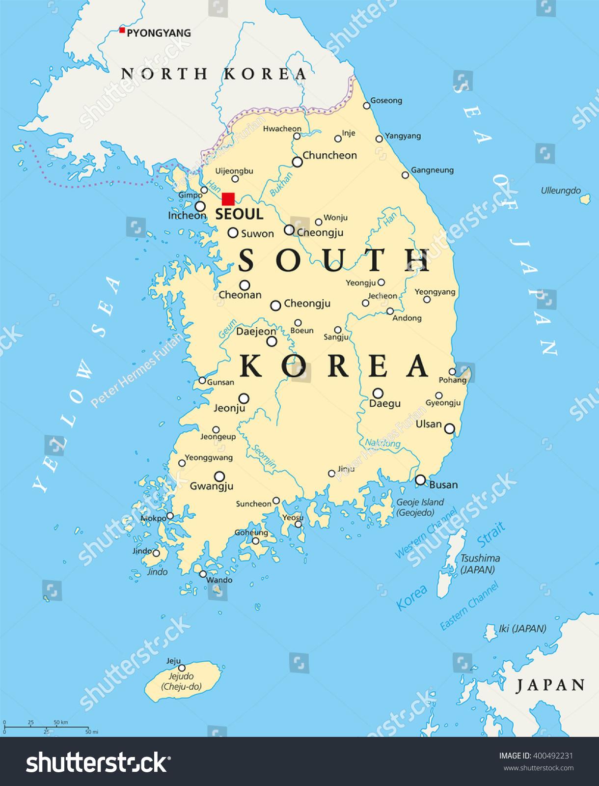 Ulsan Korea Map.South Korea Political Map Capital Seoul Stock Vector Royalty Free