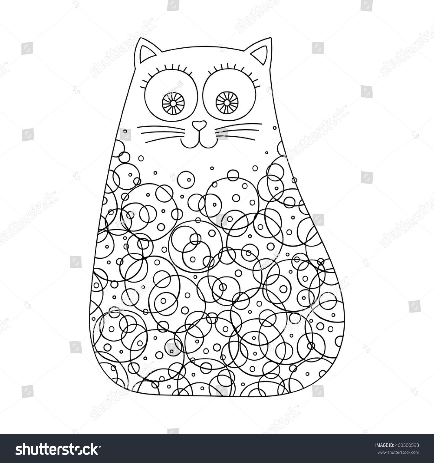 doodle cat dots circles vector hand stock vector 400500598