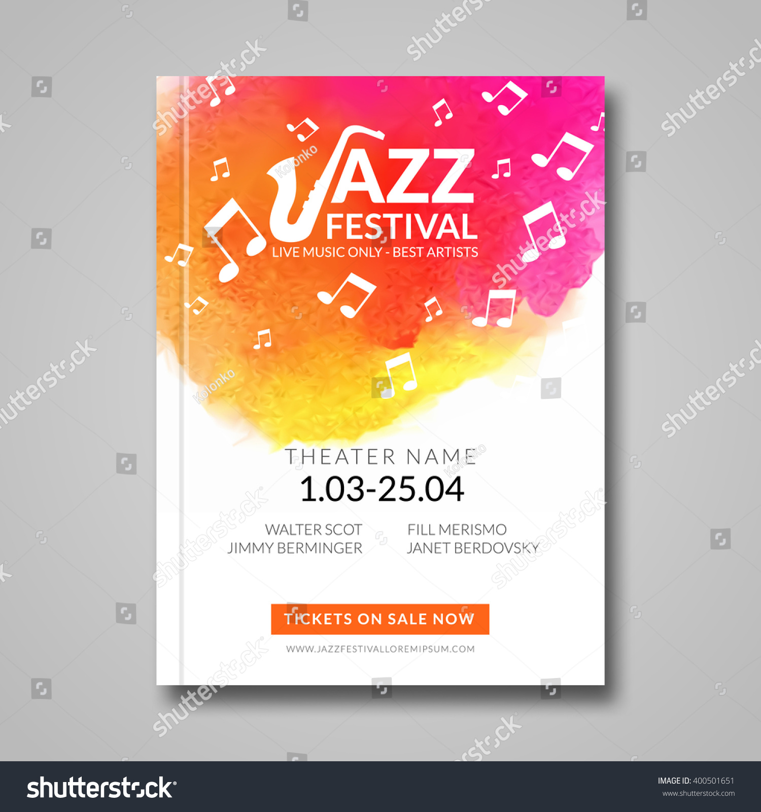 Poster design music - Vector Musical Poster Design Watercolor Stain Background Jazz Rock Style Billboard Template For