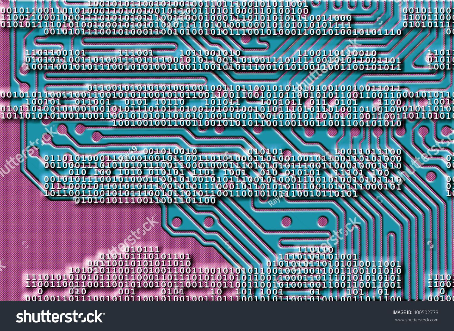 Abstract Computer Data Code Background Circuit Stock Illustration Wireframe Globe On Board And Binary With Backdrop In Blue Pink