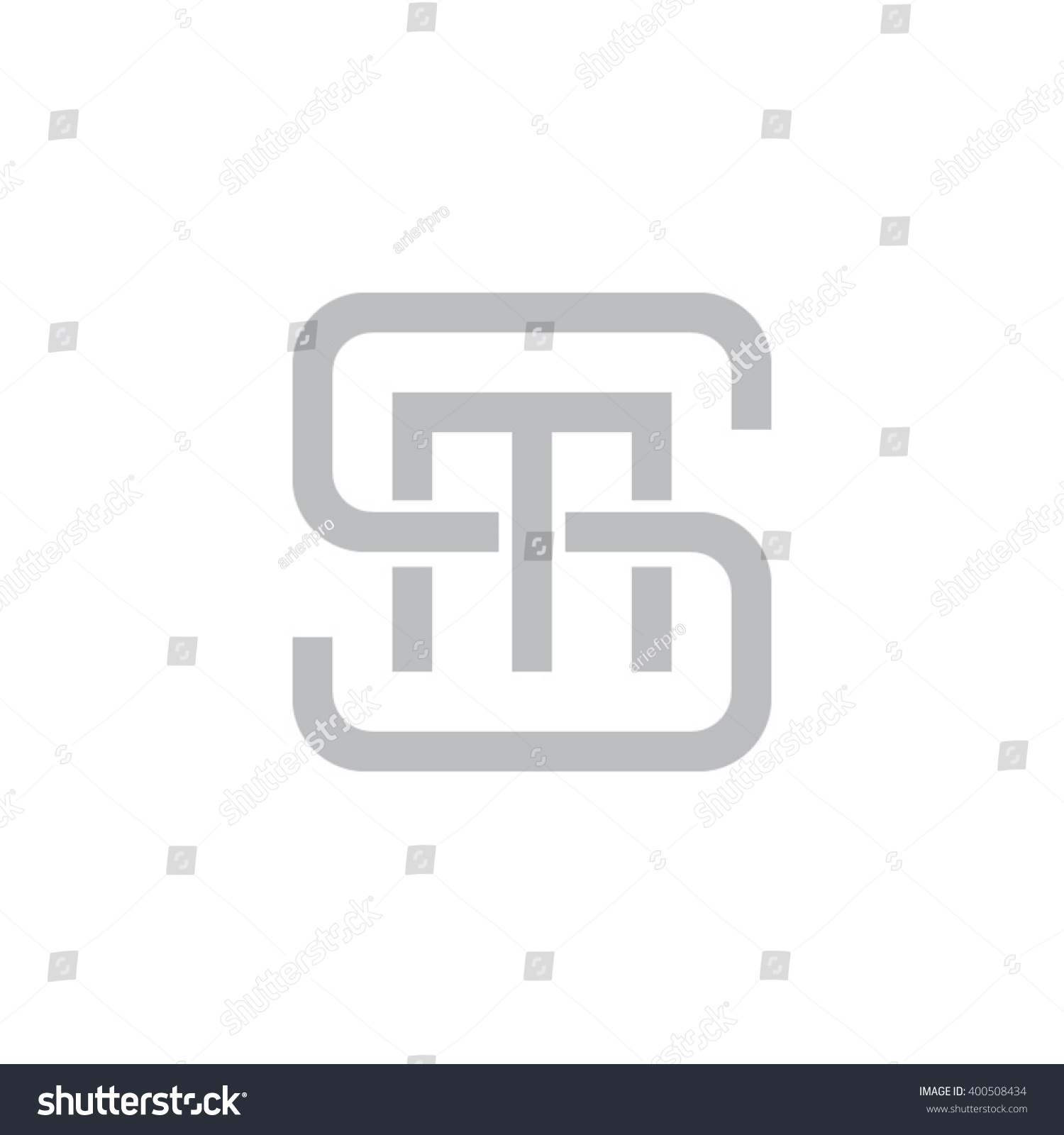 Letter S M Monogram Square Shape Stock Vector Royalty Free