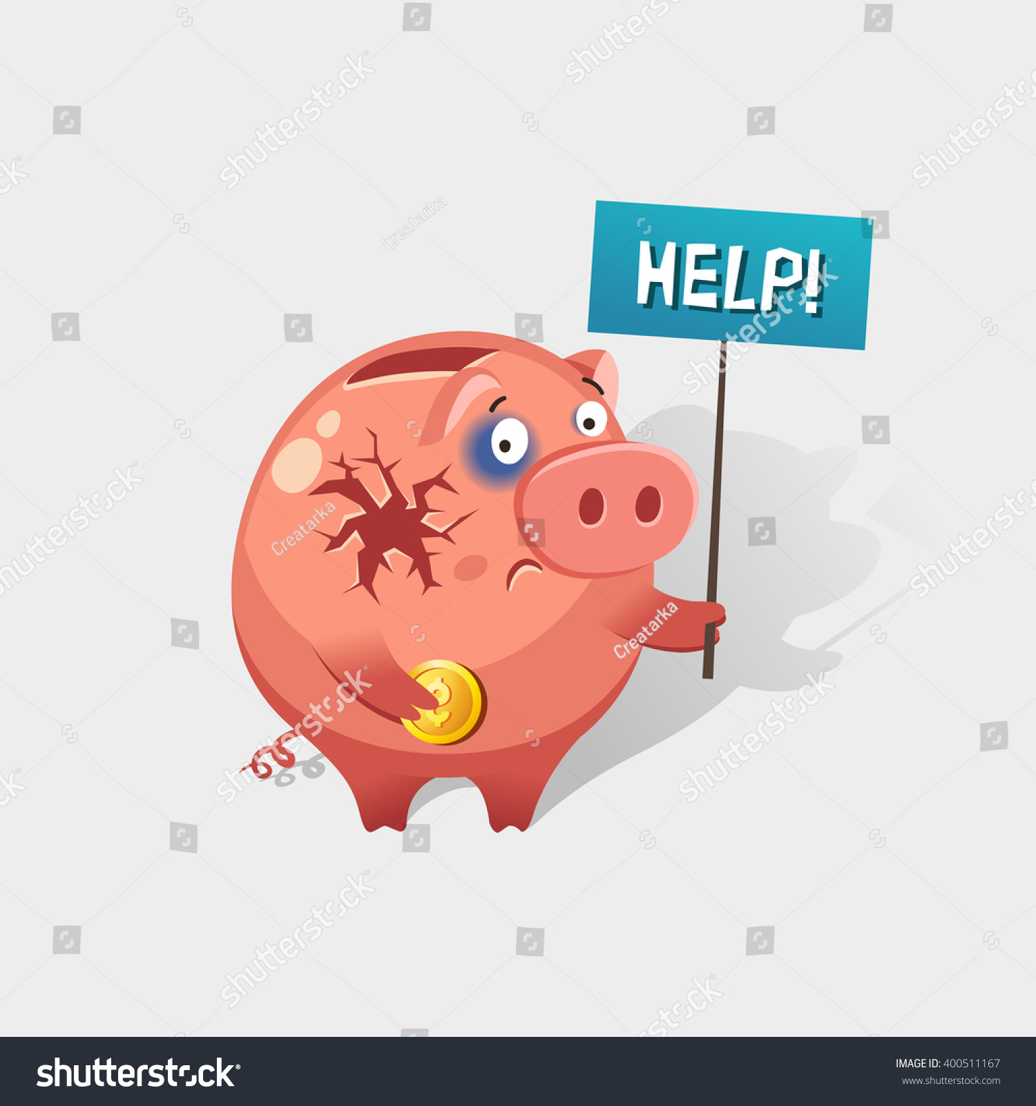 Men holding the word party concept 3d illustration stock photo - Broken Piggy Bank Holding The Word Help On Placard Financial Crisis Or Economic Depression Concept