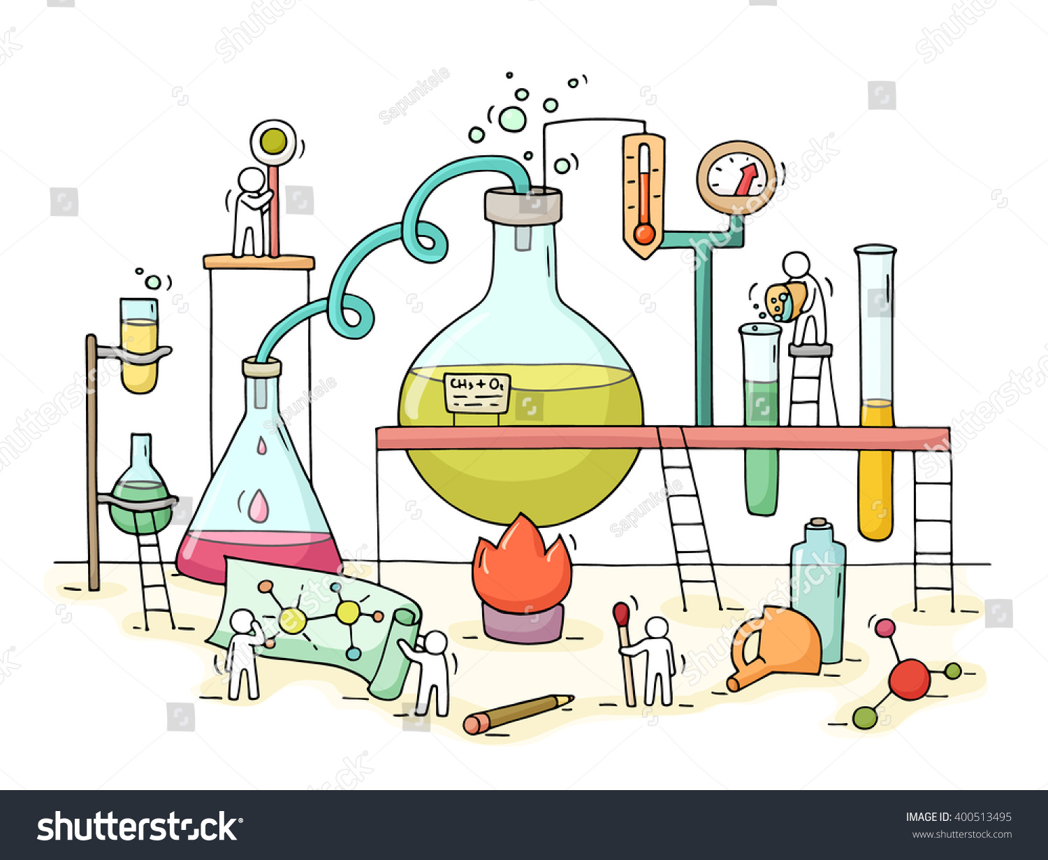 sketch chemical experiment working little people stock vector