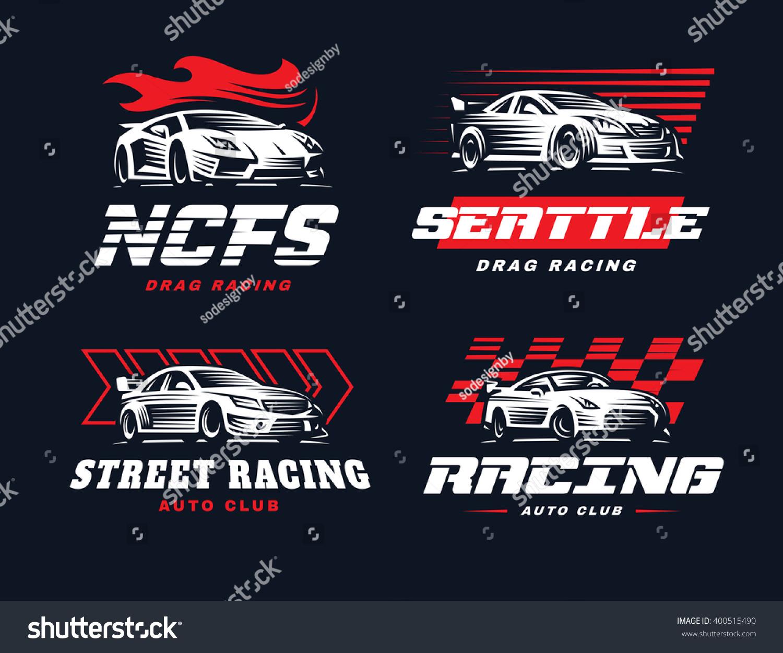 Car club sticker designs - Sport Car Logo Illustration On Dark Background Drag Racing
