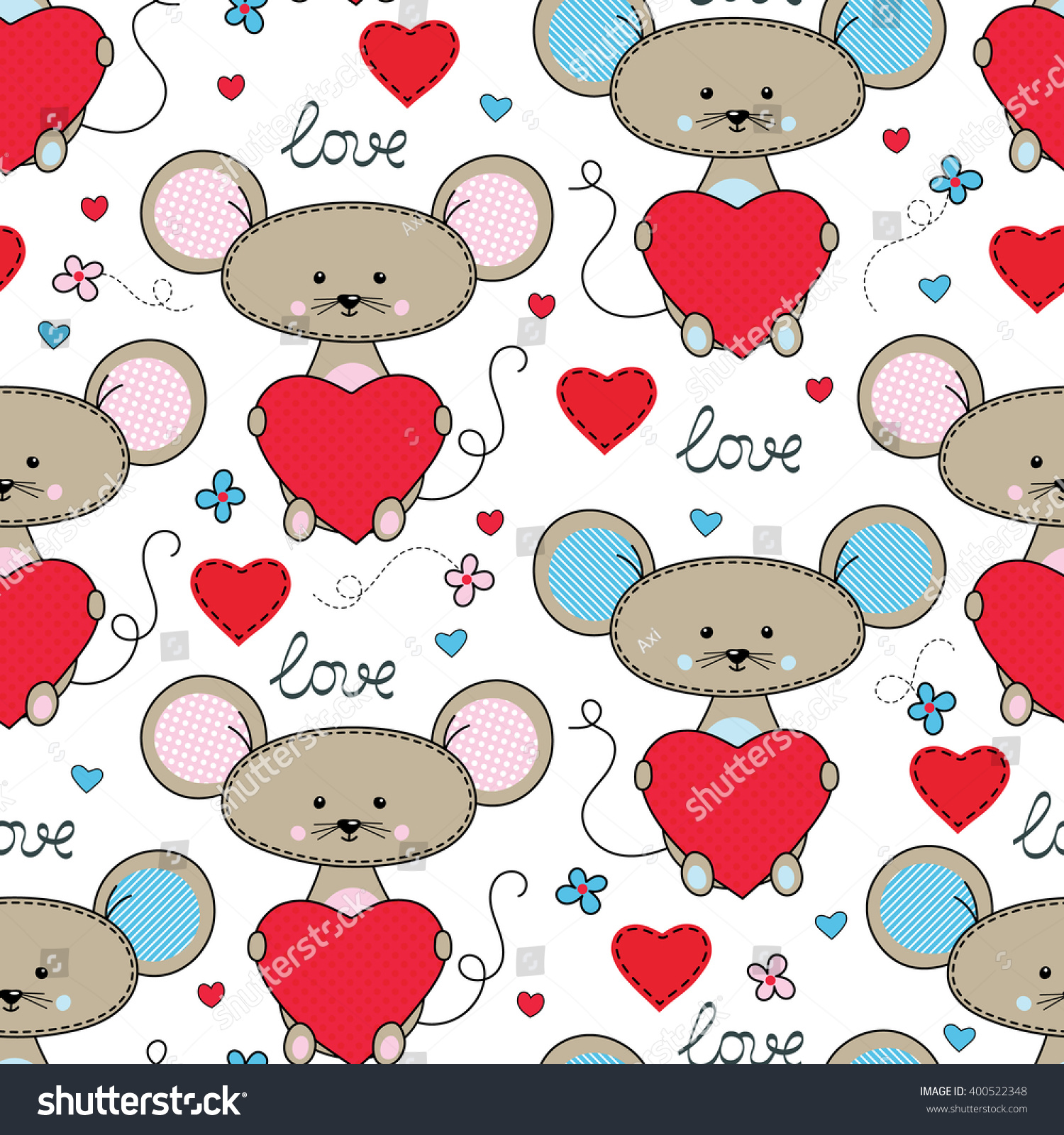 Cute Mouse With Heart Seamless Pattern. Cartoon Vector ...