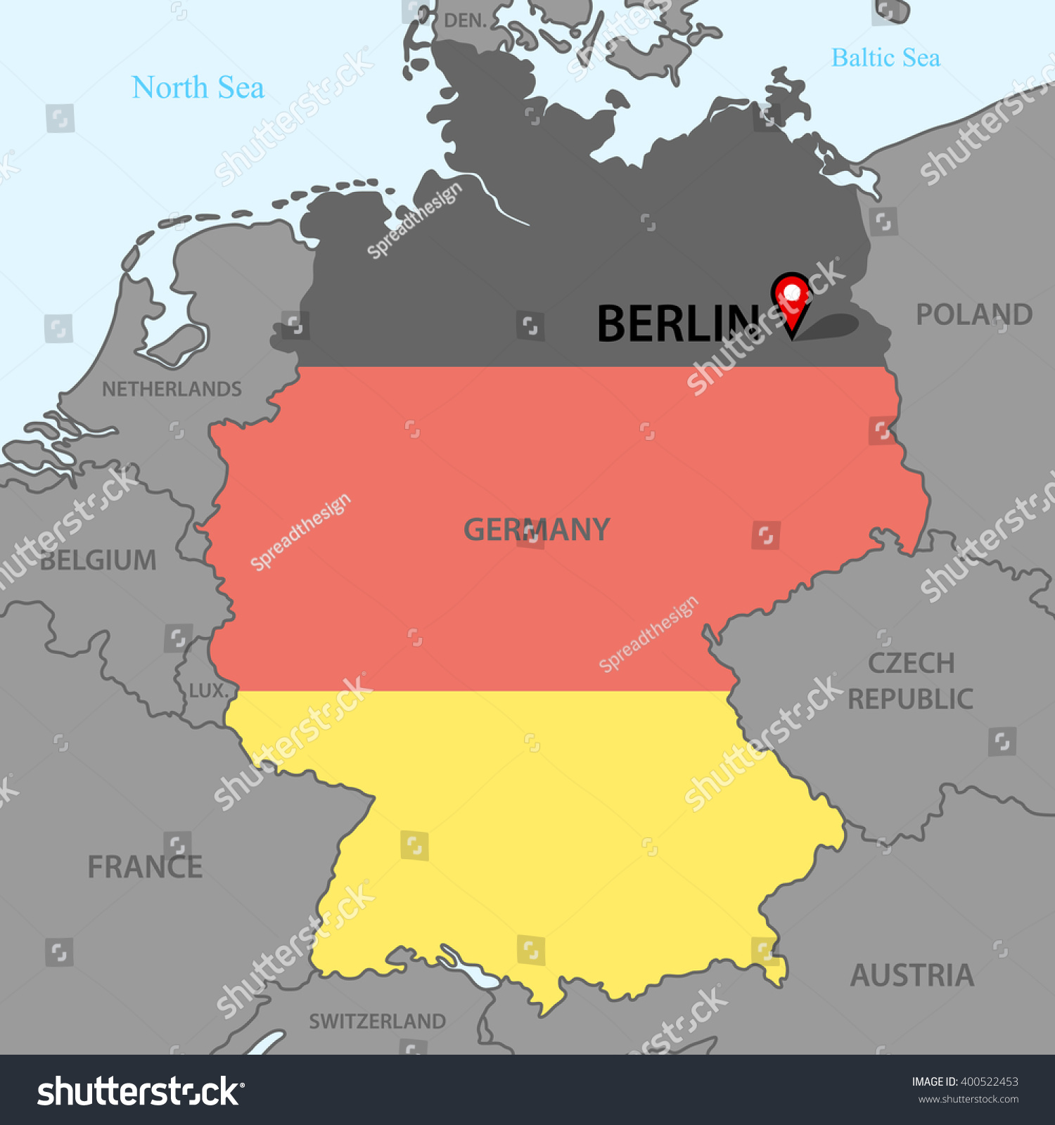 Germany Map Stock Vector Shutterstock - Germany map view