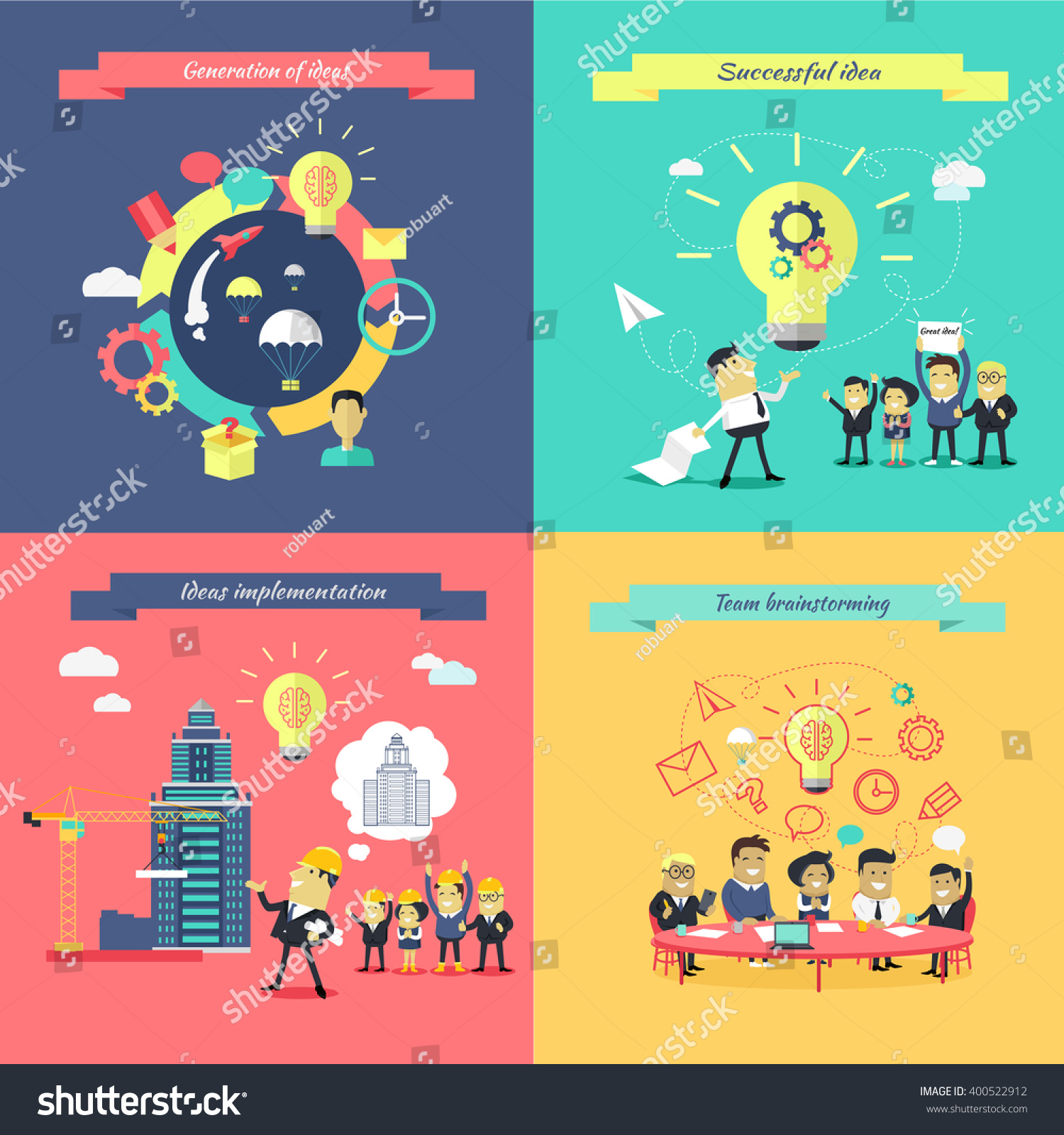 generation ideas banners set brainstorming team stock vector