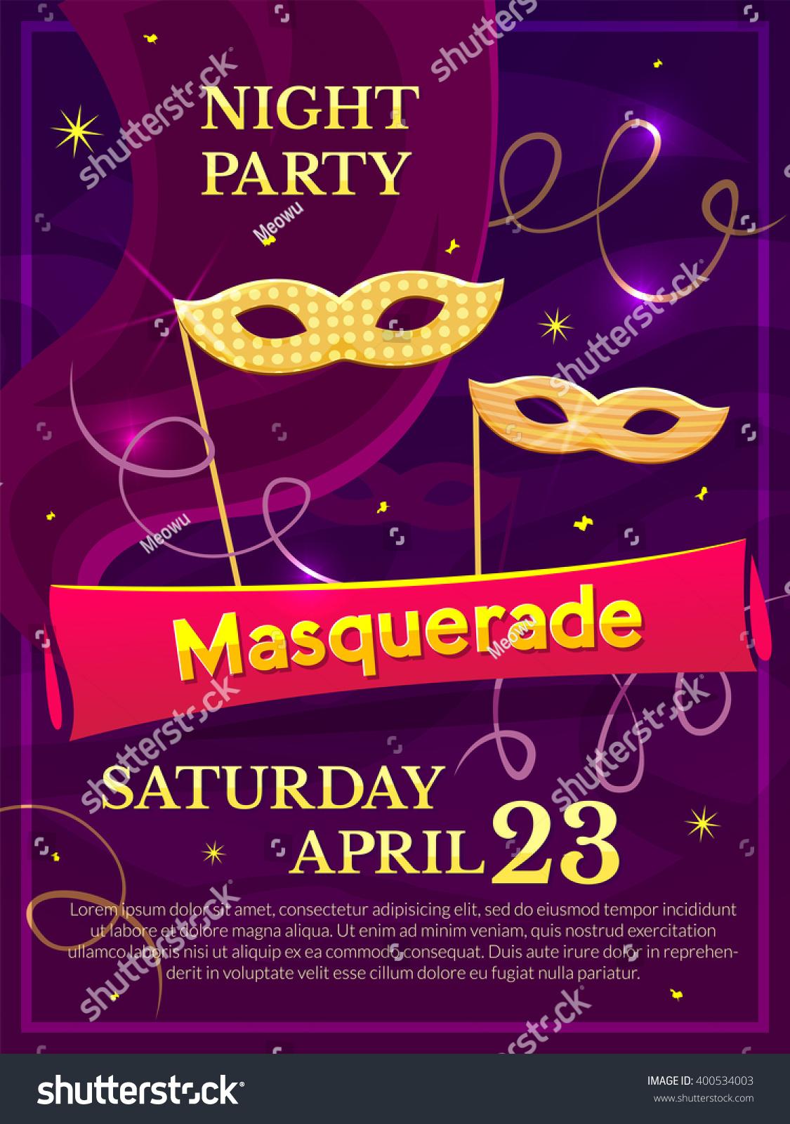 Masquerade Poster Invitation Theme Party Nightclub Stock Vector ...