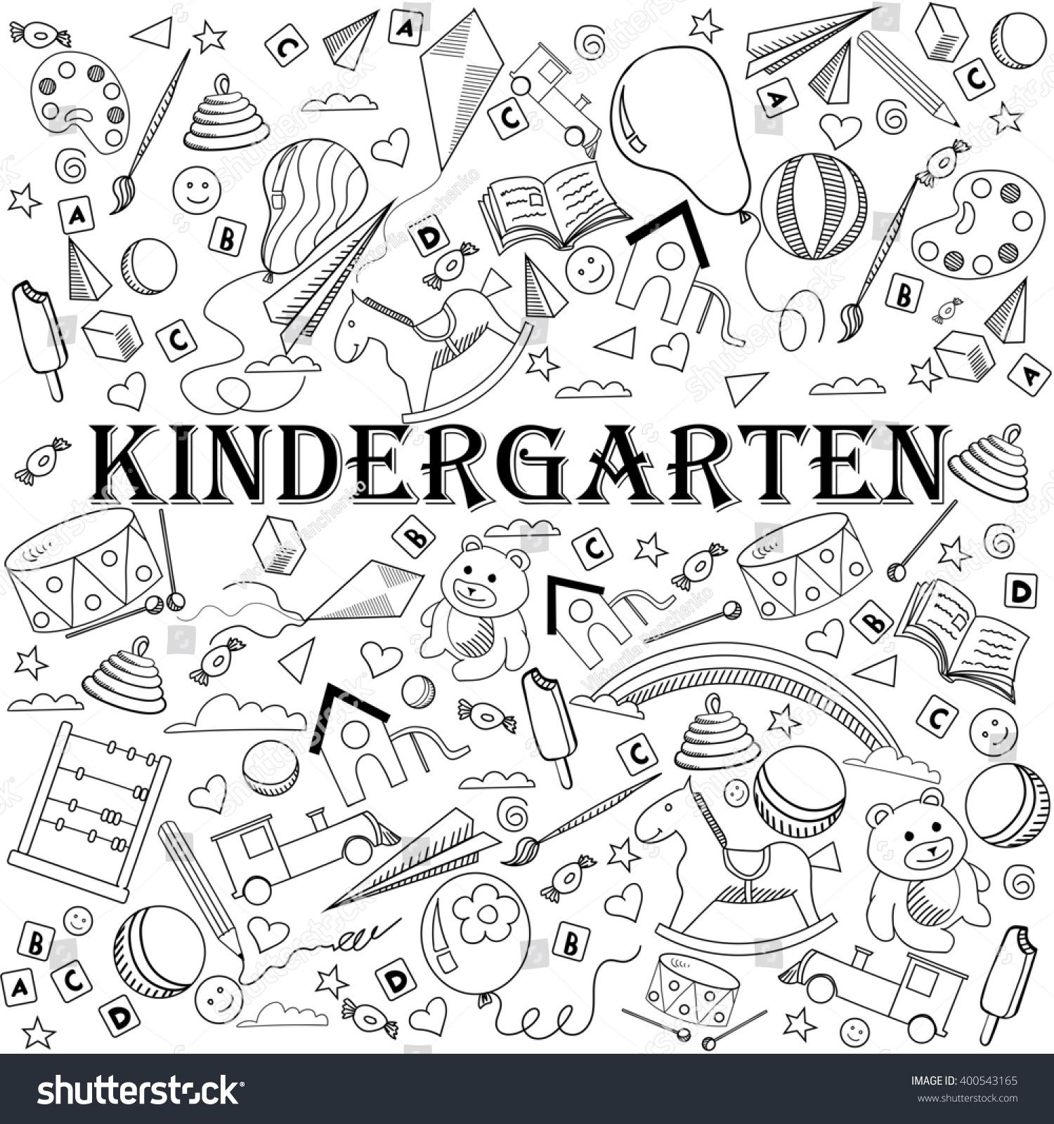 Kindergarten Coloring Book Line Art Design Raster Illustration Separate Objects Hand Drawn Doodle