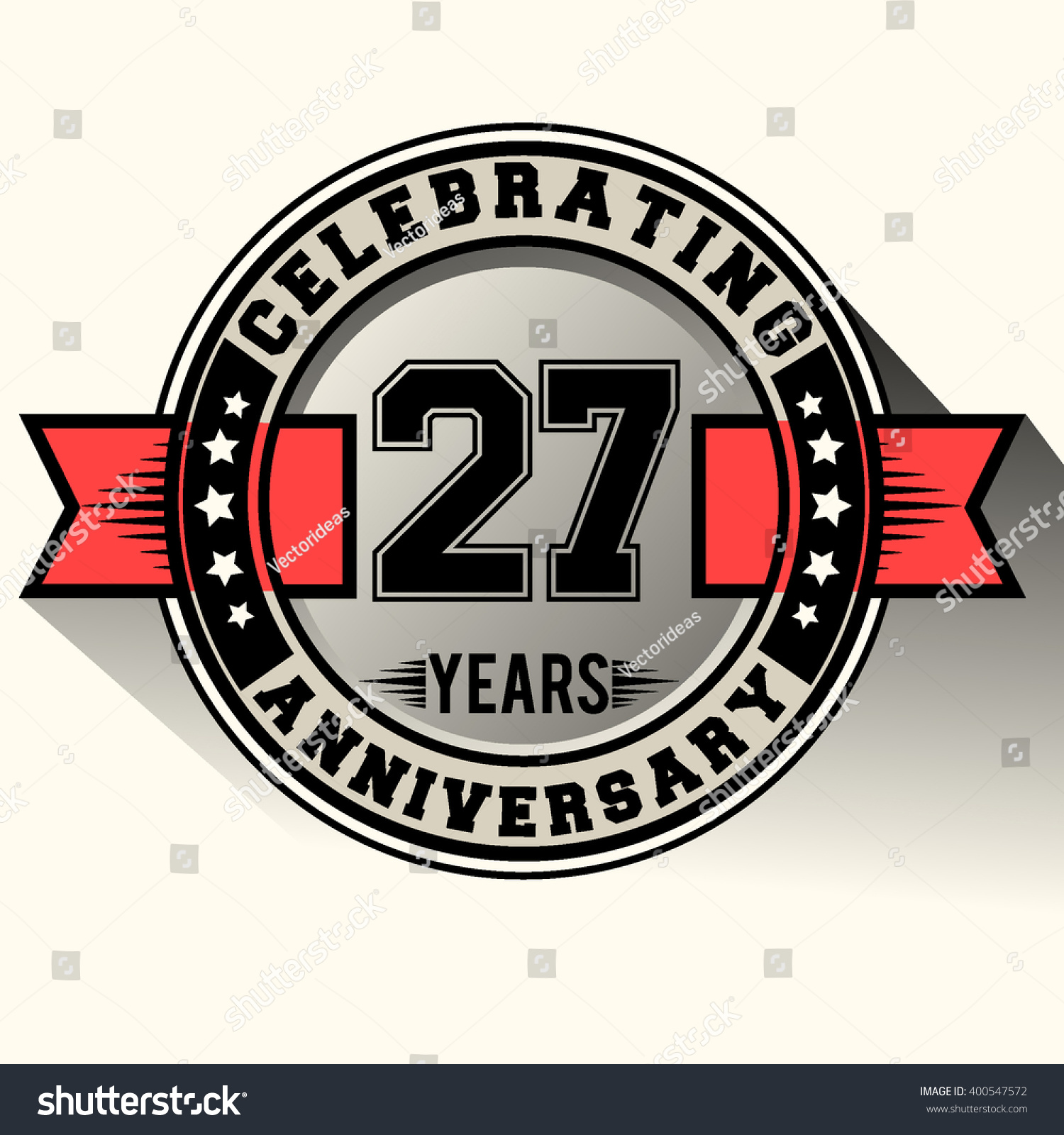 Celebrating 27 years anniversary logo vintage stock vector 400547572 celebrating 27 years anniversary logo vintage emblem with red ribbon retro vector design isolated on biocorpaavc Images