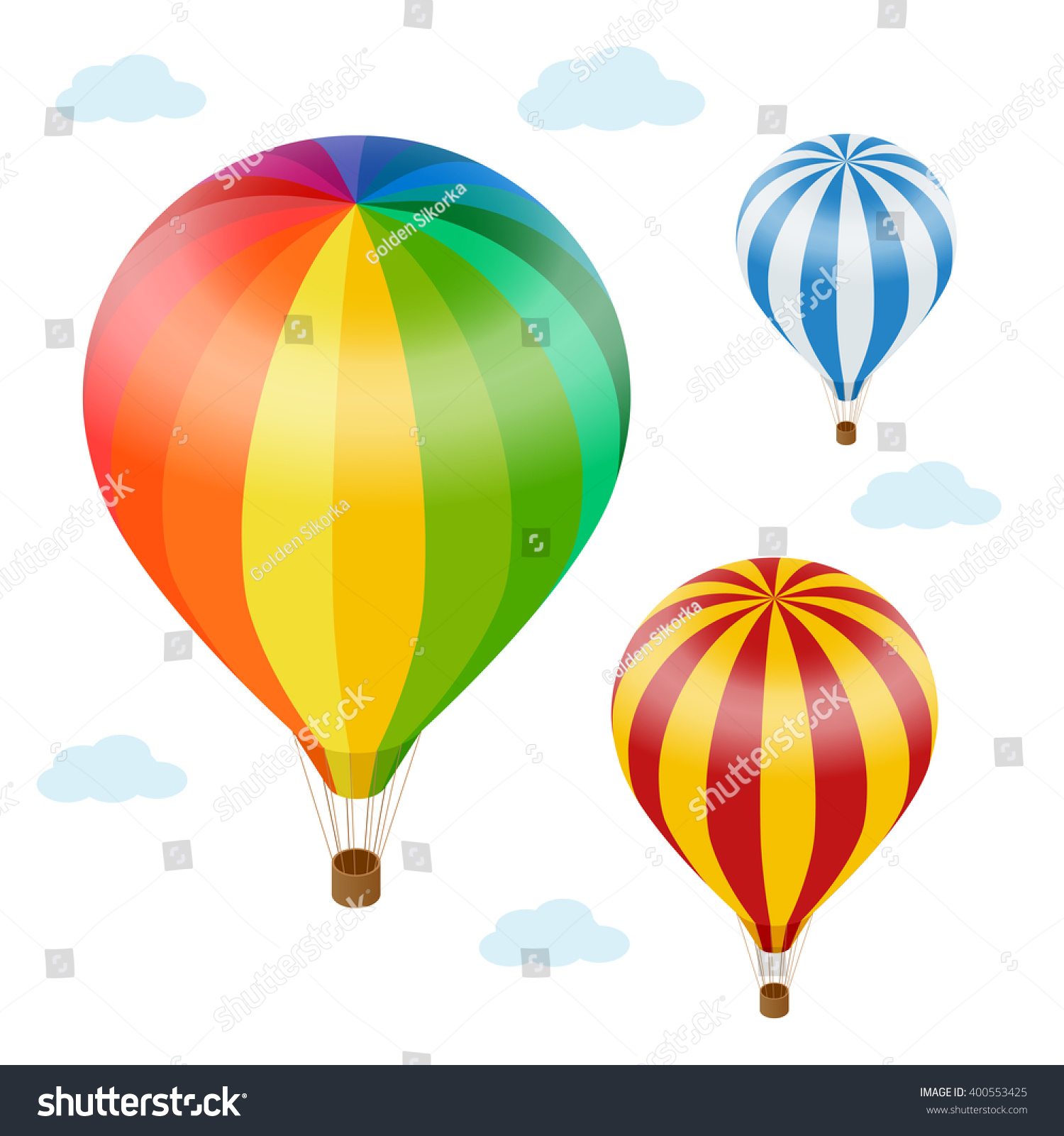 air balloon sky clouds flat stock vector 400553425 shutterstock