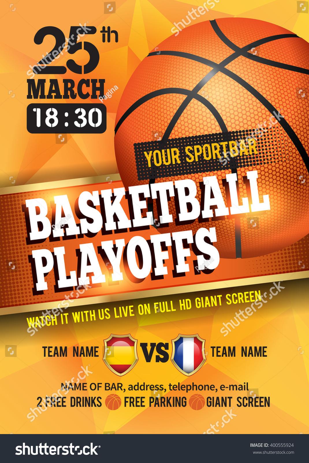 Basketball Poster Basketball Ball Basketball Playoff Stock ...