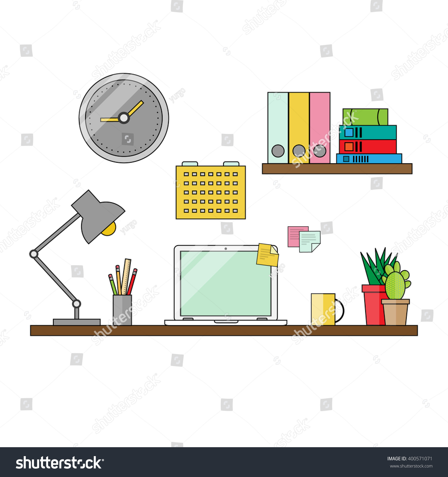 Thin line drawing work place office stock vector 400571071 thin line drawing of a work place office desk table lamp laptop computer geotapseo Gallery