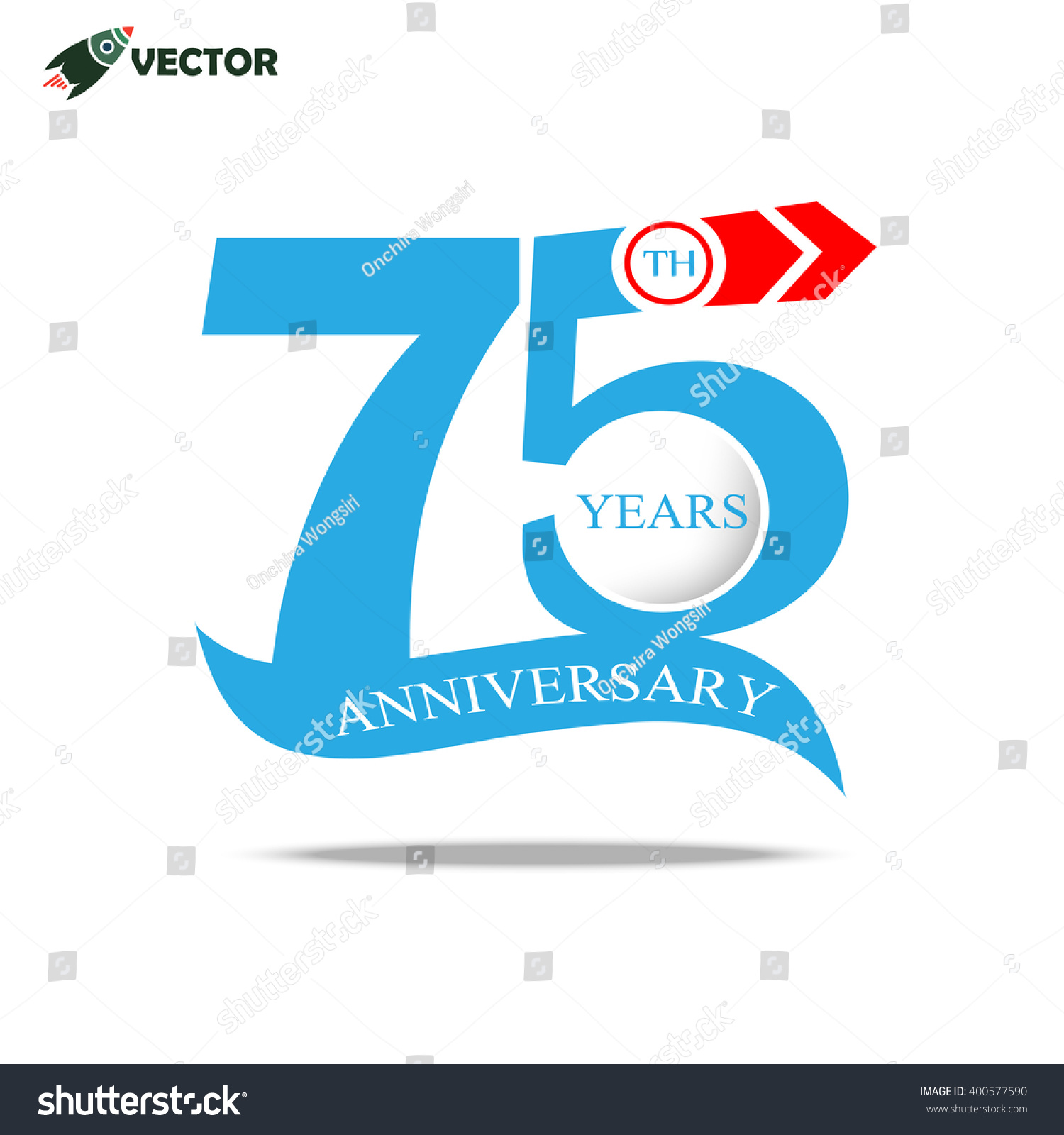 75th Years Anniversary Label Sign Ribbon Stock Vector 400577590