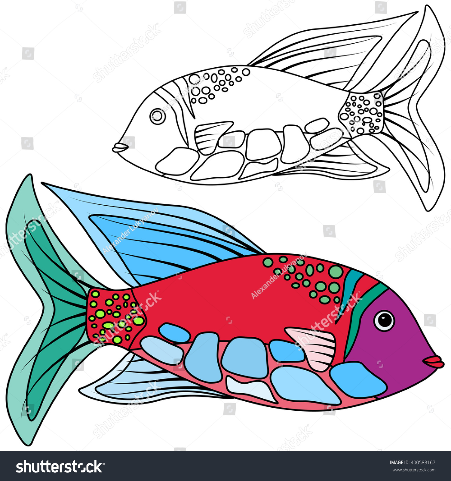 Fish Abstrac Kids Coloring Raster Graphics Stock Illustration ...