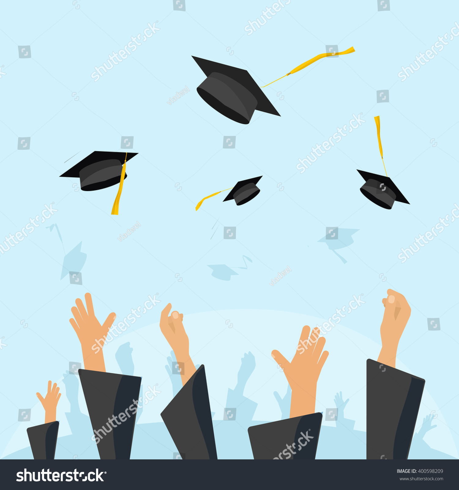 Graduating Students Pupil Hands Gown Throwing Stock Vector ...