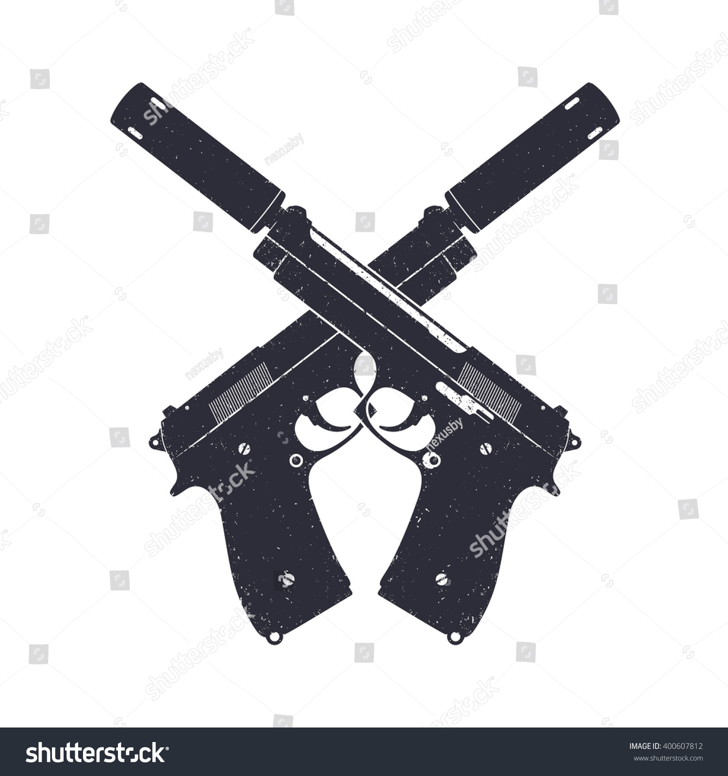 crossed modern pistols silencers two handguns stock vector