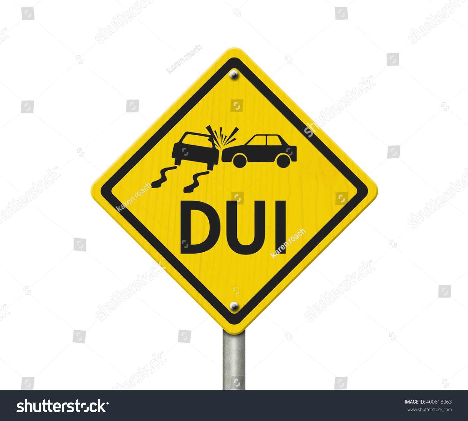Yellow Warning Dui Highway Road Sign Stock Illustration ...