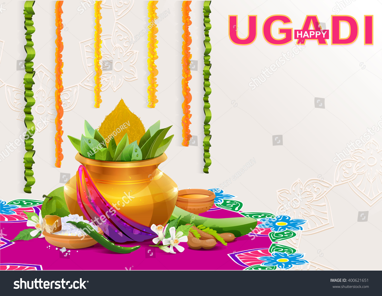 Happy ugadi template greeting card holiday stock vector 400621651 happy ugadi template greeting card for holiday gold pot with coconut illustration in kristyandbryce Images