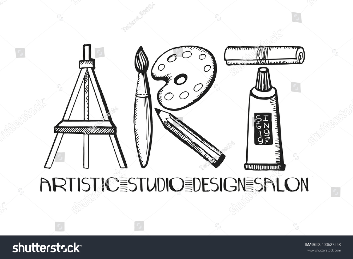 Line Art Word : Art lettering salondesign studio logoposter templatevector
