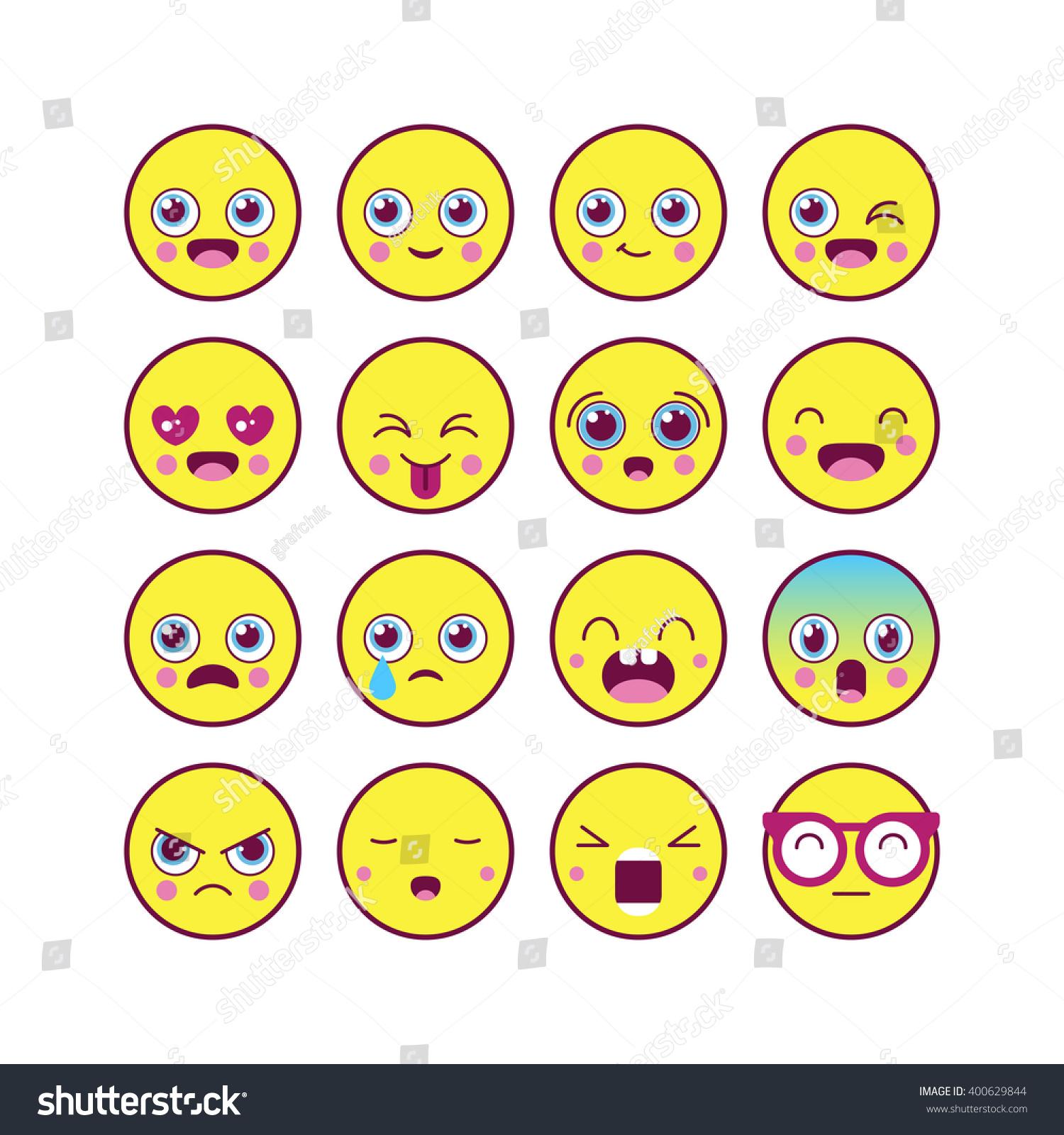 Emoticons emoji linear icon set kawaii stock vector 400629844 shutterstock - Emoticone kawaii ...