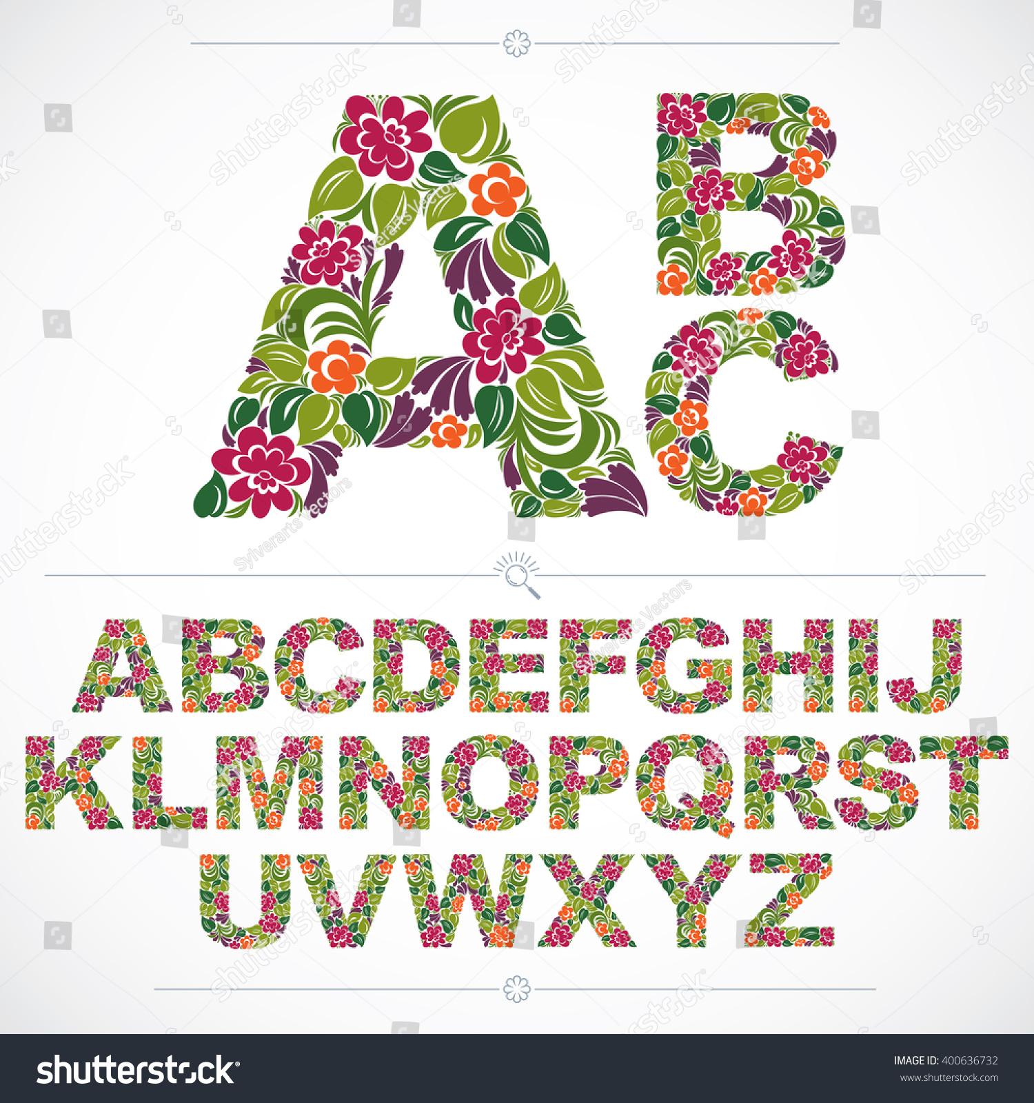 Floral Font Handdrawn Vector Capital Alphabet Stock Vector