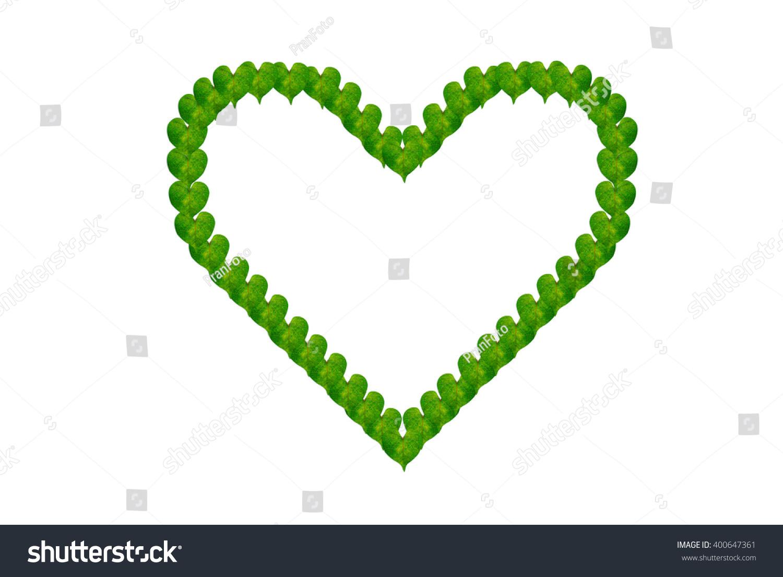 Green Leaves Heart Shape On White Stock Illustration 400647361