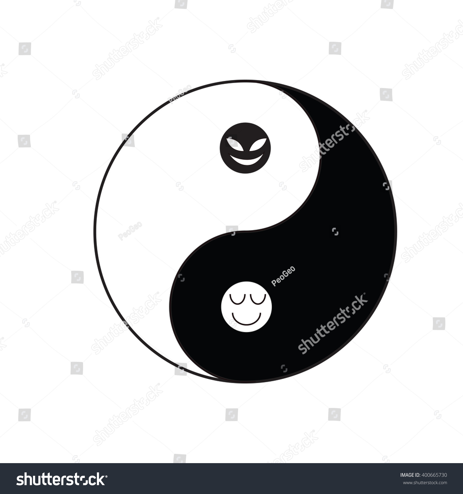 Yin Yang Symbol Taoism Religion Chinese Tradition Stock Vector